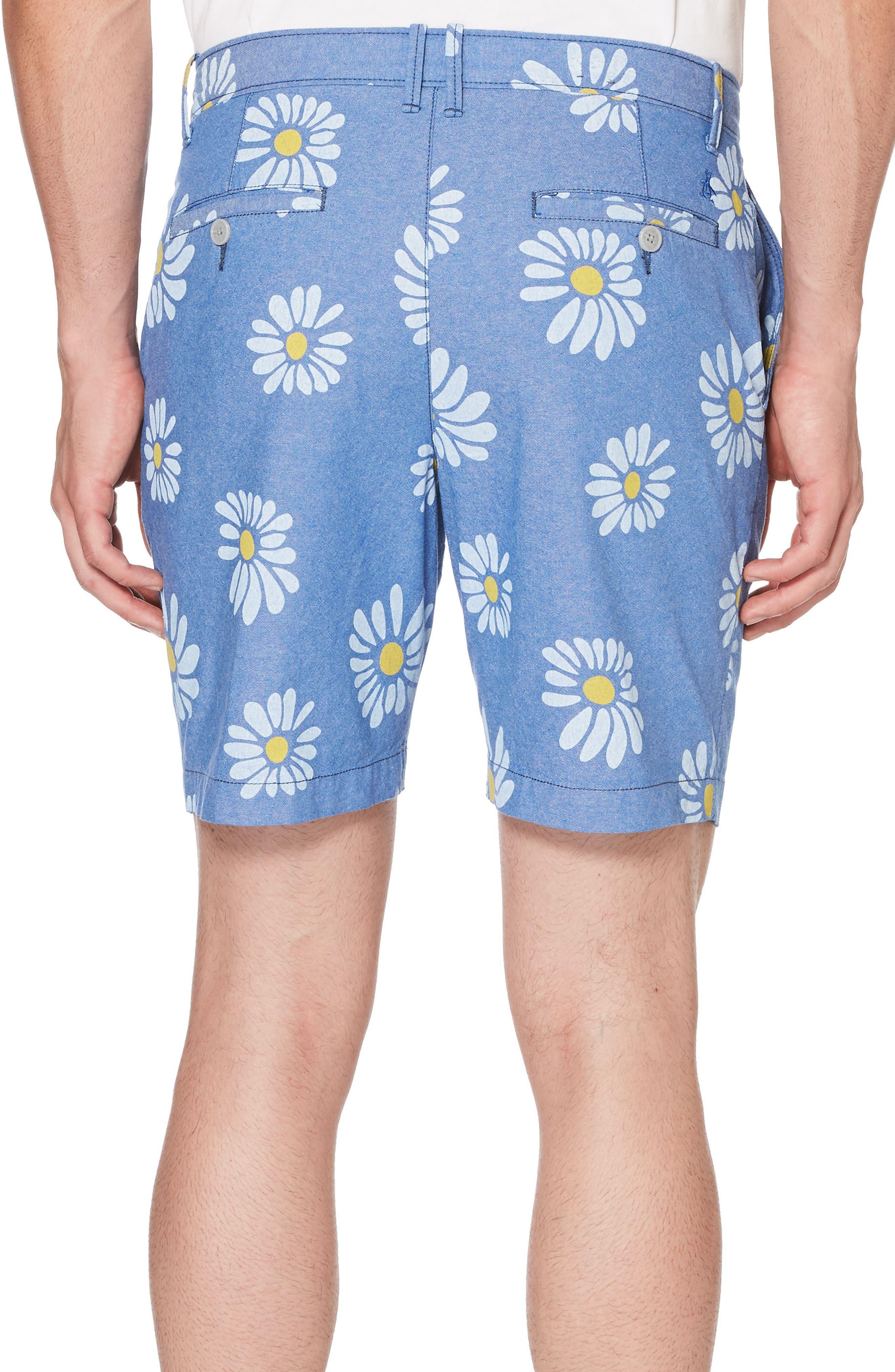 P55 Exploded Daisy Print Oxford Shorts,                             Alternate thumbnail 2, color,                             Turkish Sea