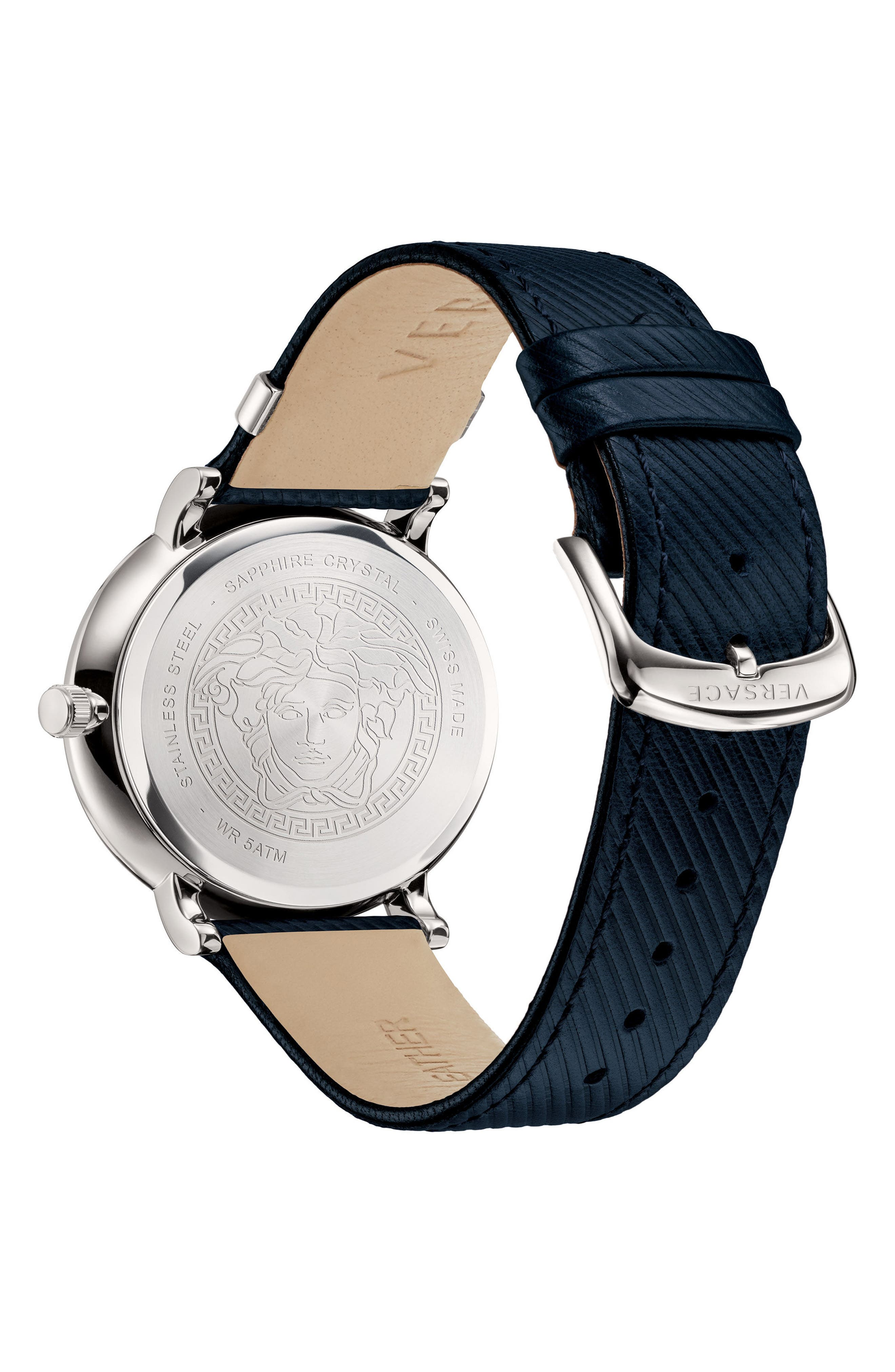 Manifesto Leather Strap Watch, 42mm,                             Alternate thumbnail 2, color,                             Blue/ Silver