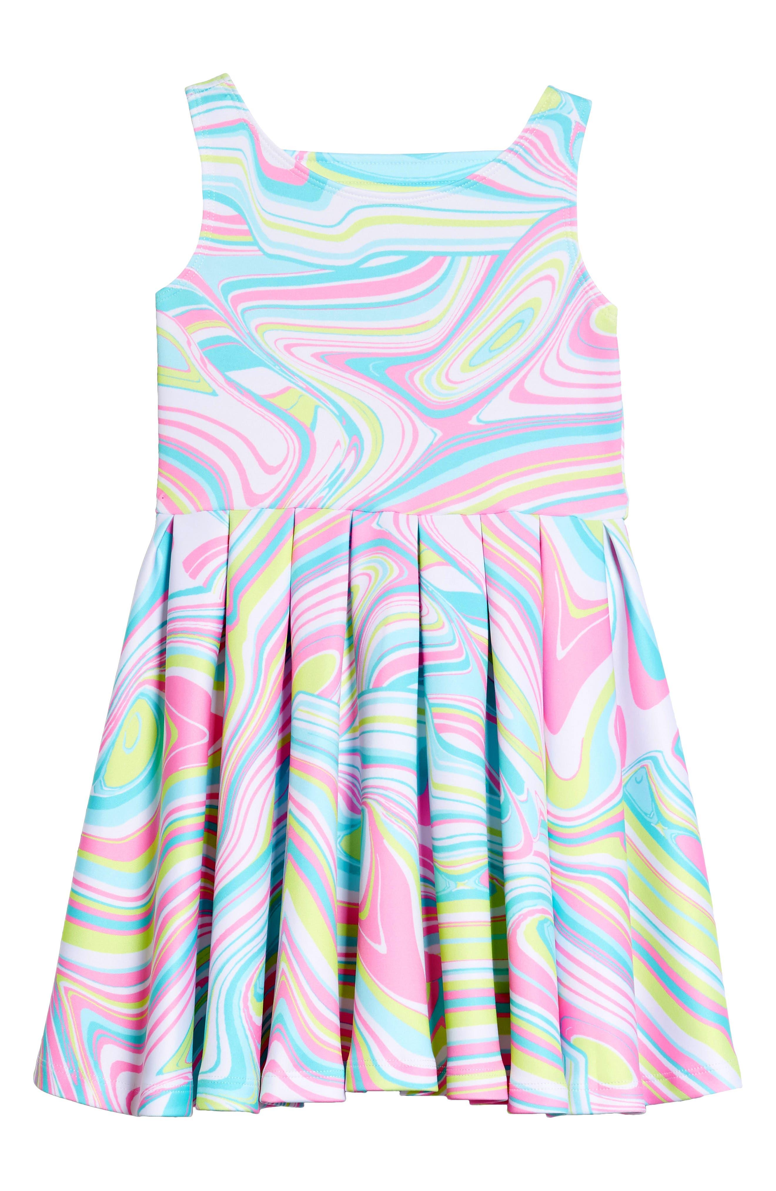 Scuba Skater Dress,                         Main,                         color, Multi