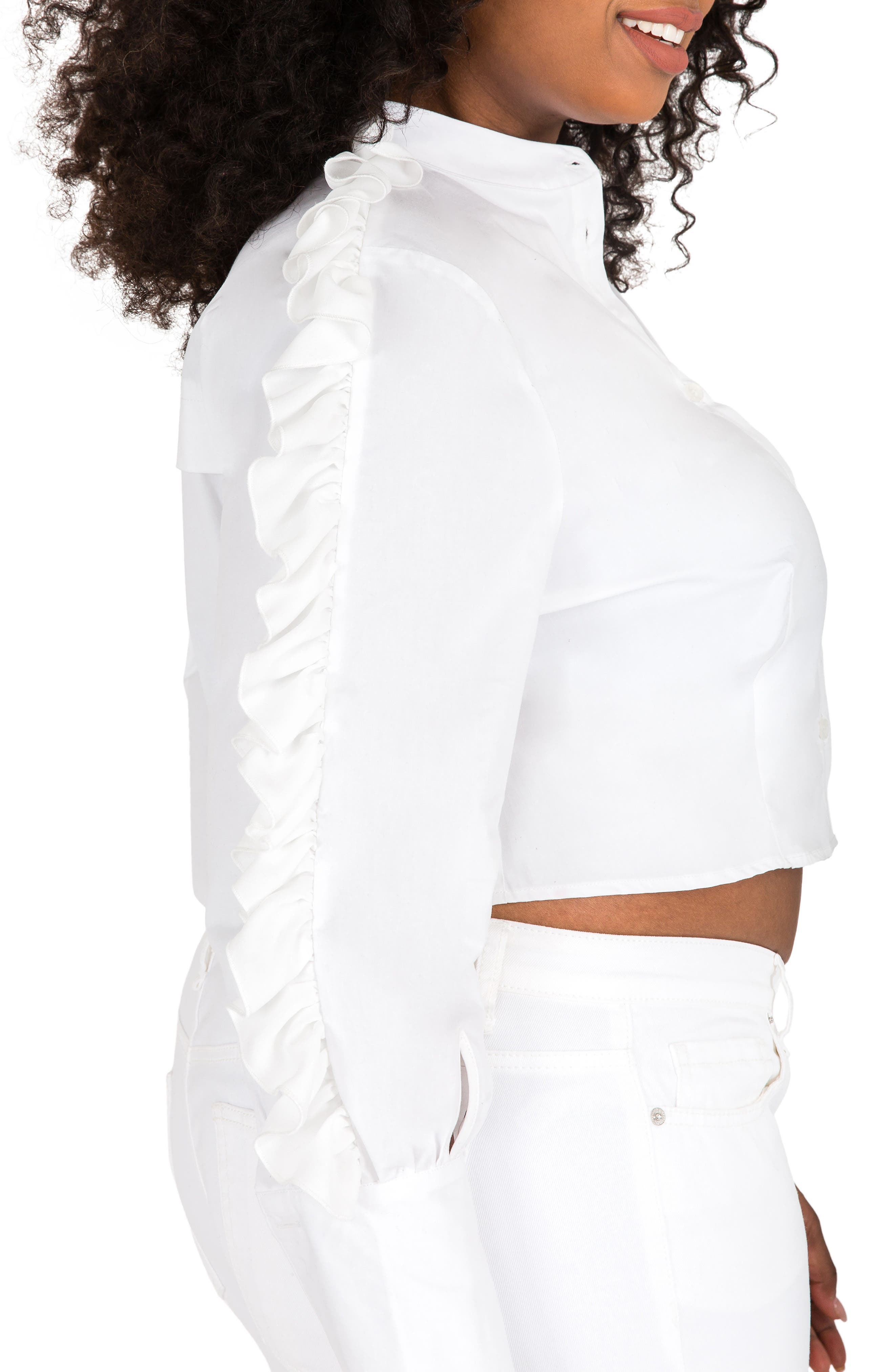 Alternate Image 3  - Poetic Justice Mayasia Ruffle Sleeve Crop Shirt (Plus Size)