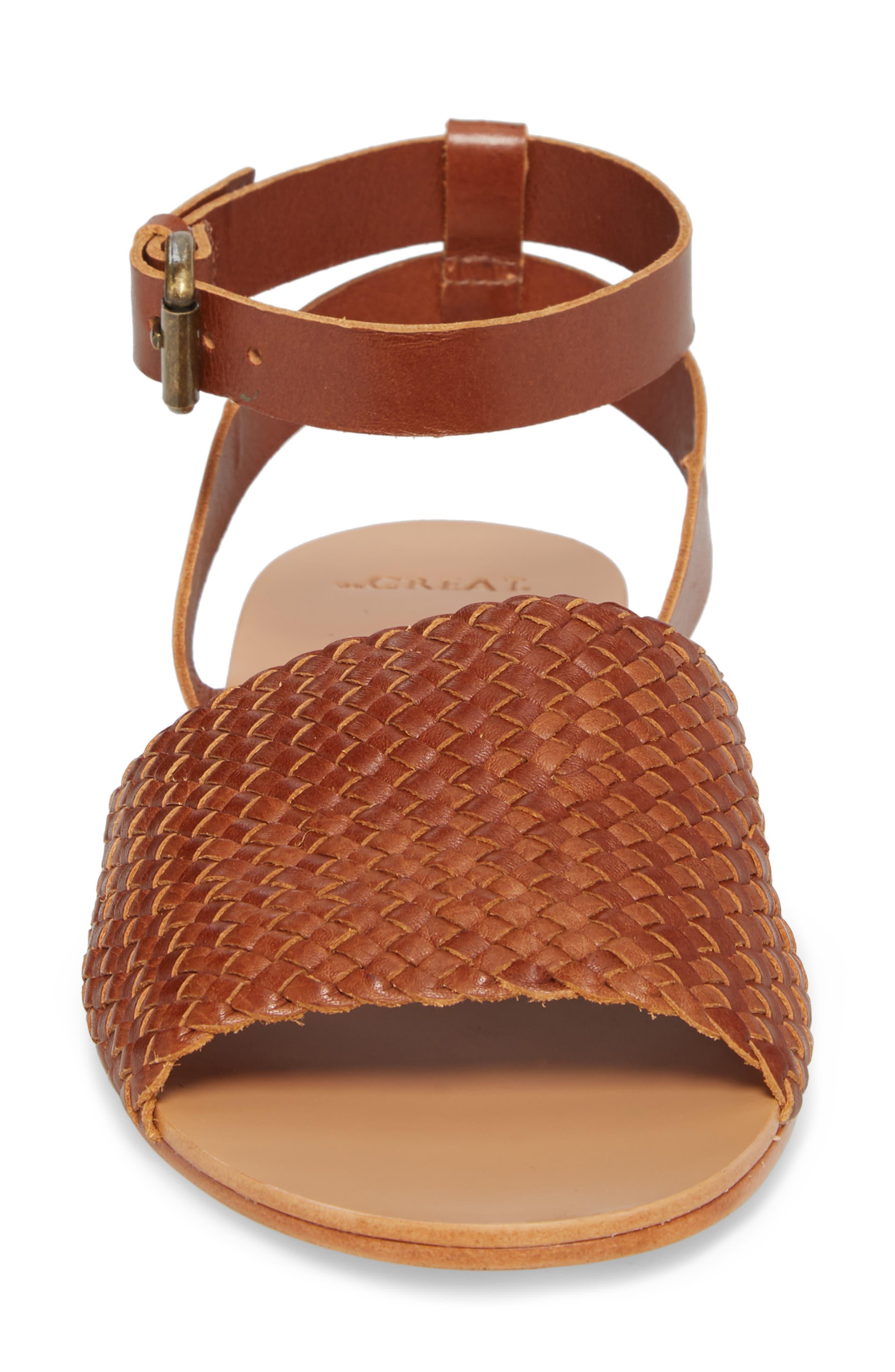 The Great Caravan Ankle Strap Sandal,                             Alternate thumbnail 4, color,                             Cognac