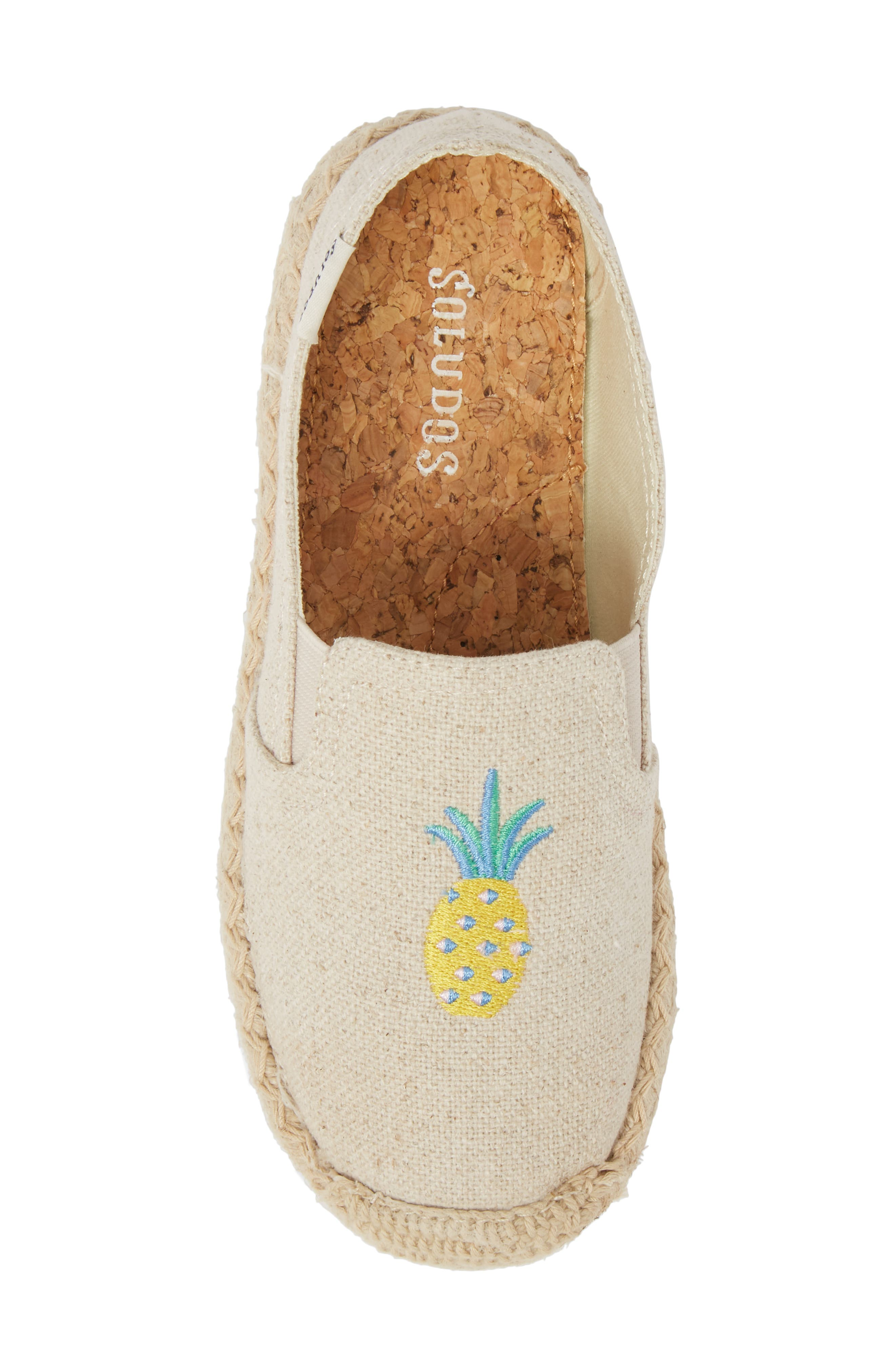 Pineapple Embroidered Espadrille,                             Alternate thumbnail 5, color,                             Sand