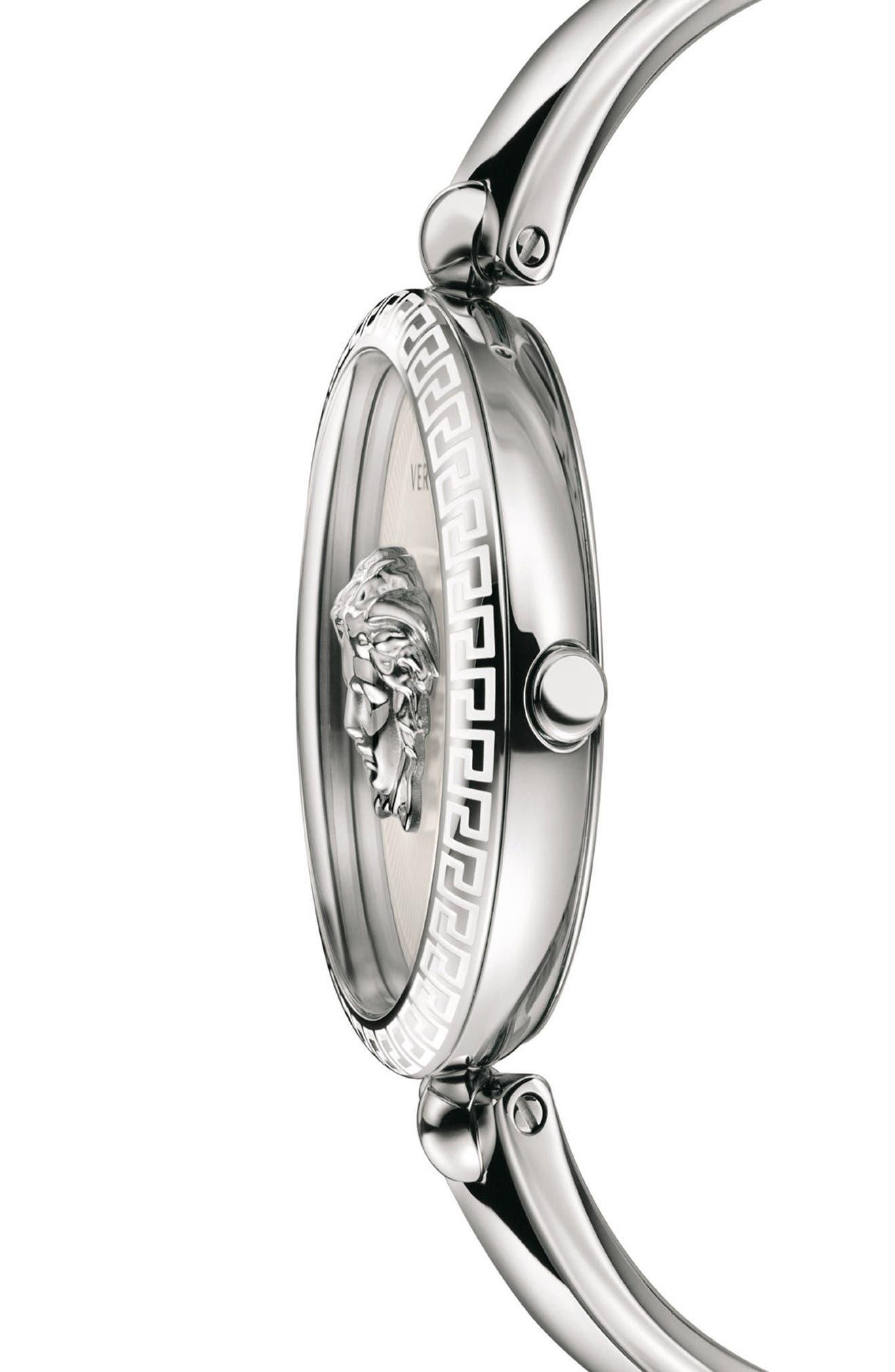 Palazzo Empire Semi Bangle Bracelet Watch, 39mm,                             Alternate thumbnail 3, color,                             Silver/ White/ Silver