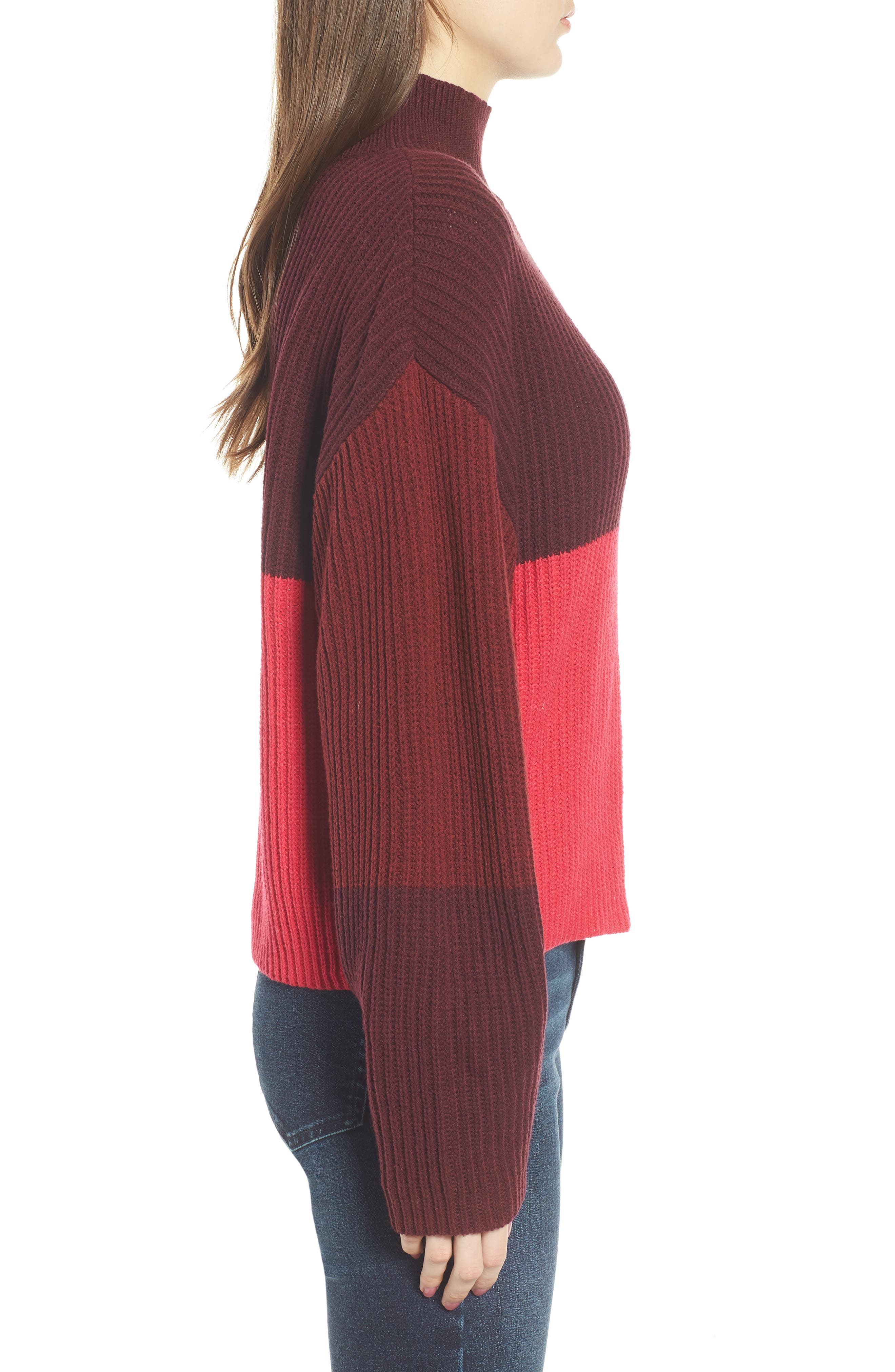 Mock Neck Colorblock Sweater,                             Alternate thumbnail 3, color,                             Red Rumba Colorblock