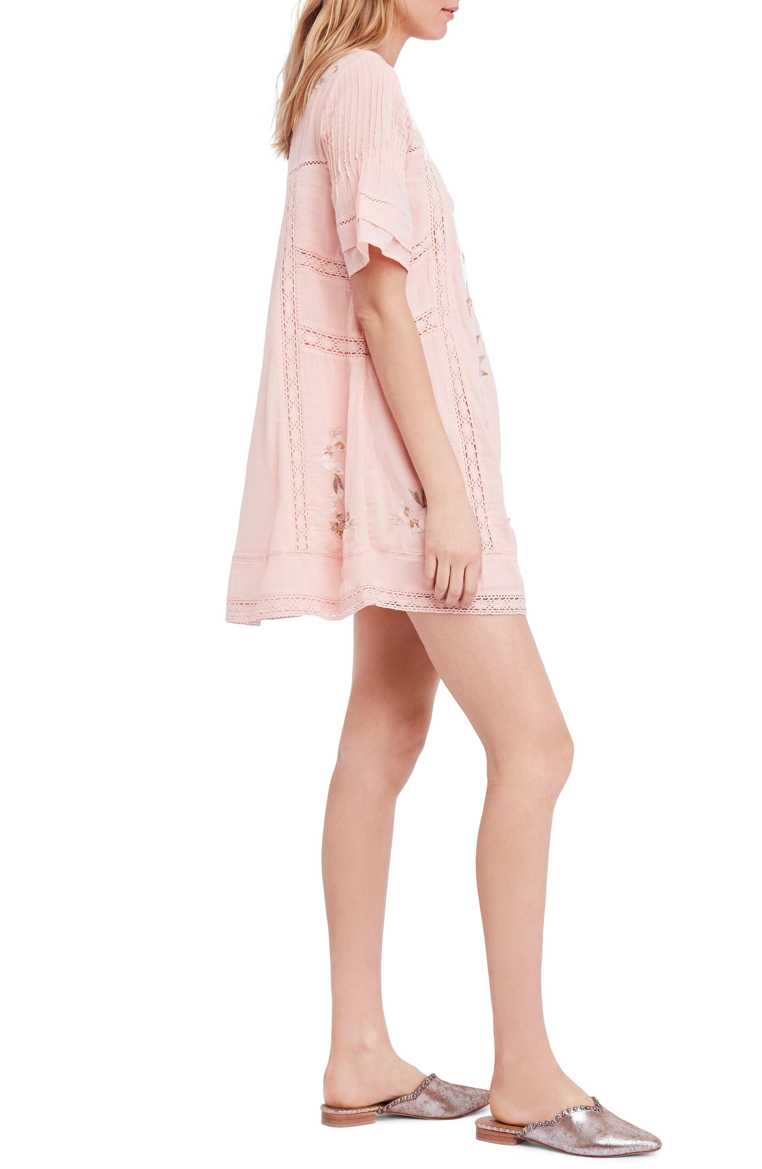 'Perfectly Victorian' Minidress,                             Alternate thumbnail 3, color,                             Pink
