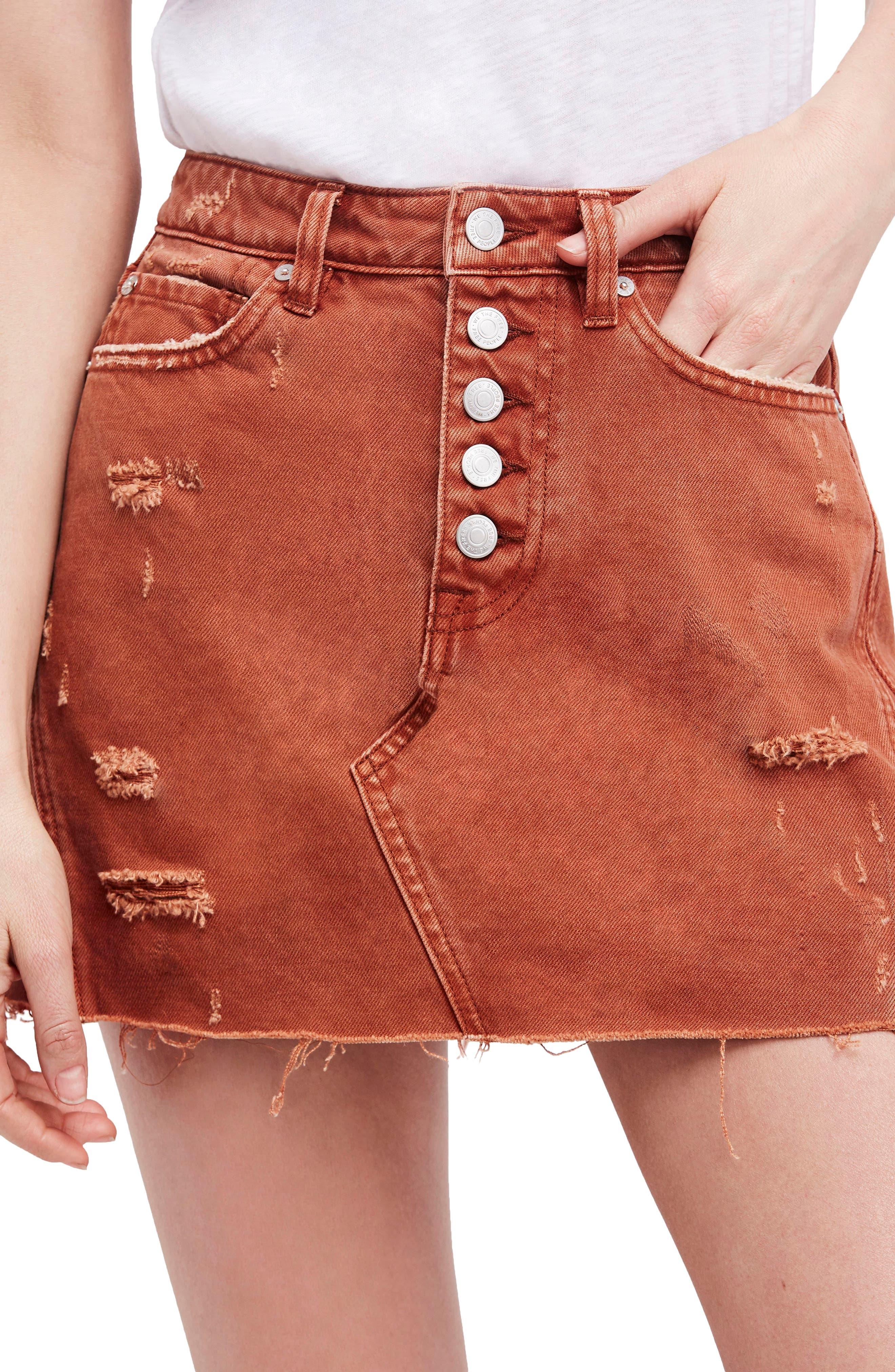Denim A-Line Skirt,                             Main thumbnail 1, color,                             Bronze