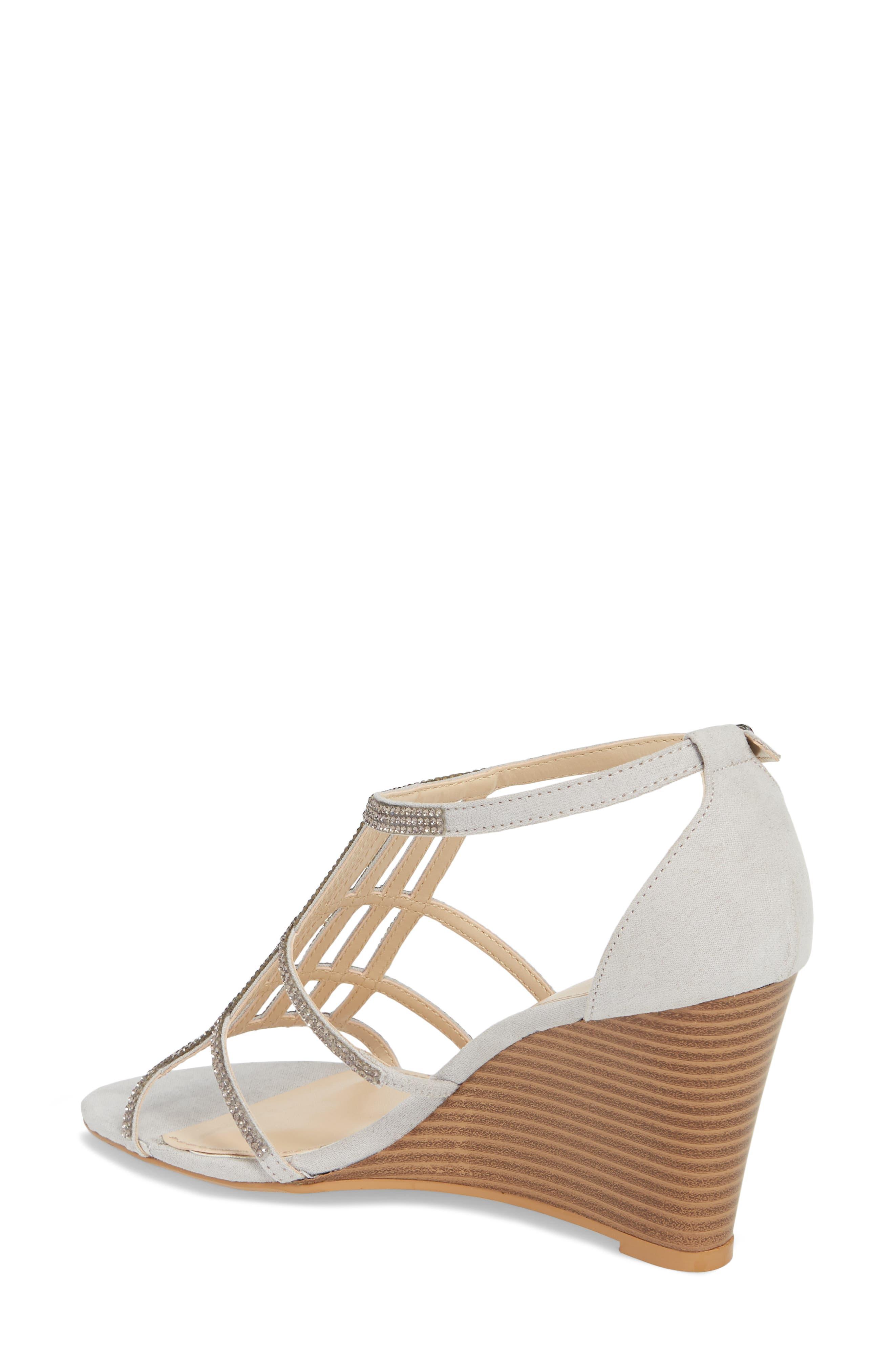 Hampton Crystal Embellished Wedge Sandal,                             Alternate thumbnail 2, color,                             Grey Suede