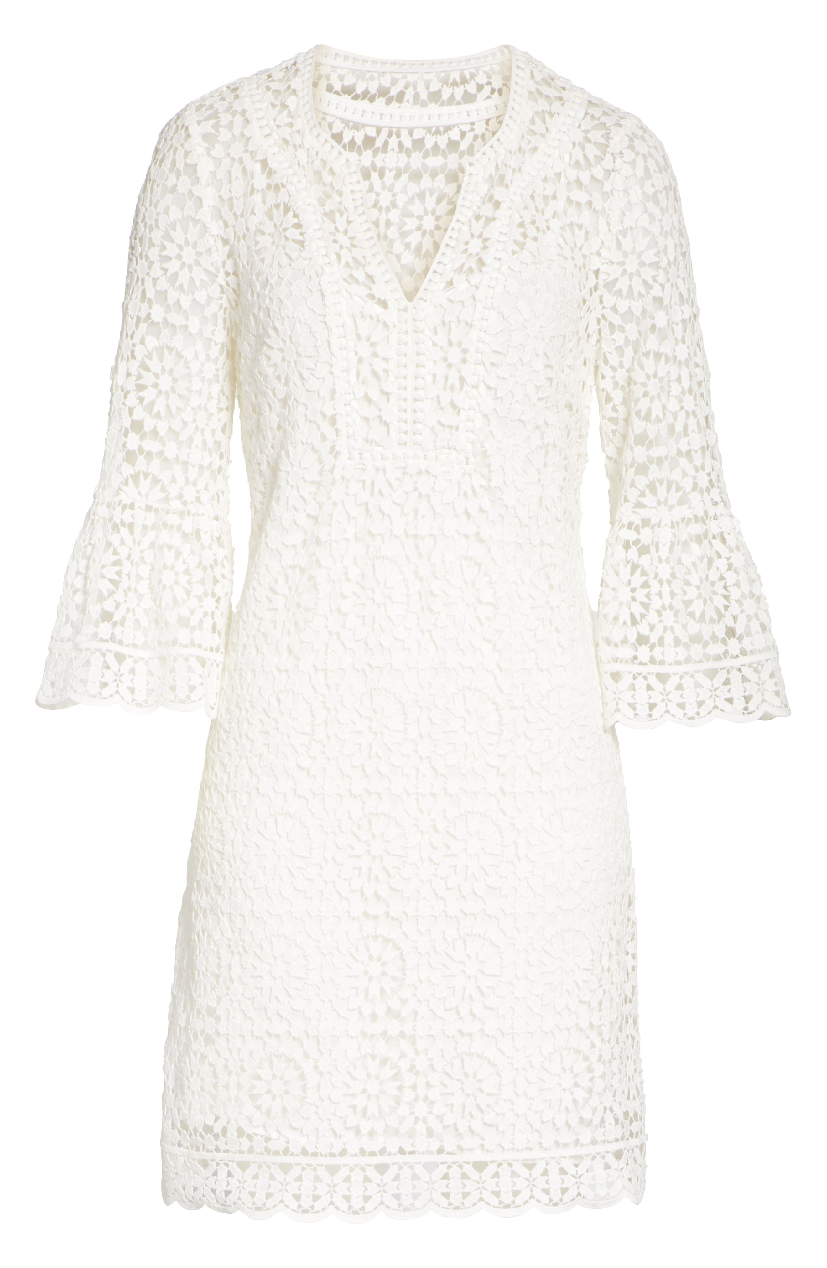 bell sleeve crochet shift dress,                             Alternate thumbnail 5, color,                             Cream