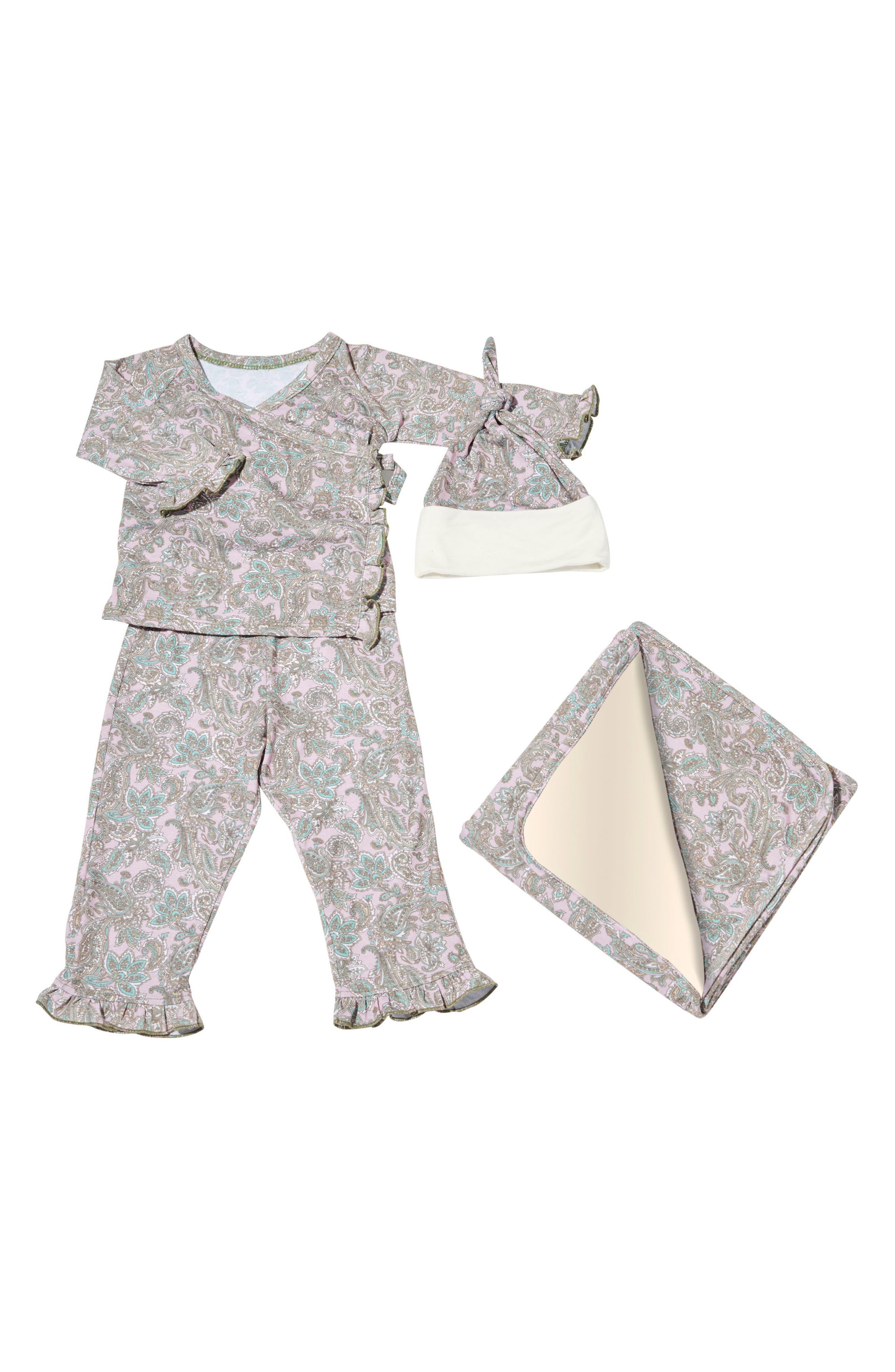 Ruffle Kimono Top, Pants, Hat & Blanket Set,                             Main thumbnail 1, color,                             Paisley