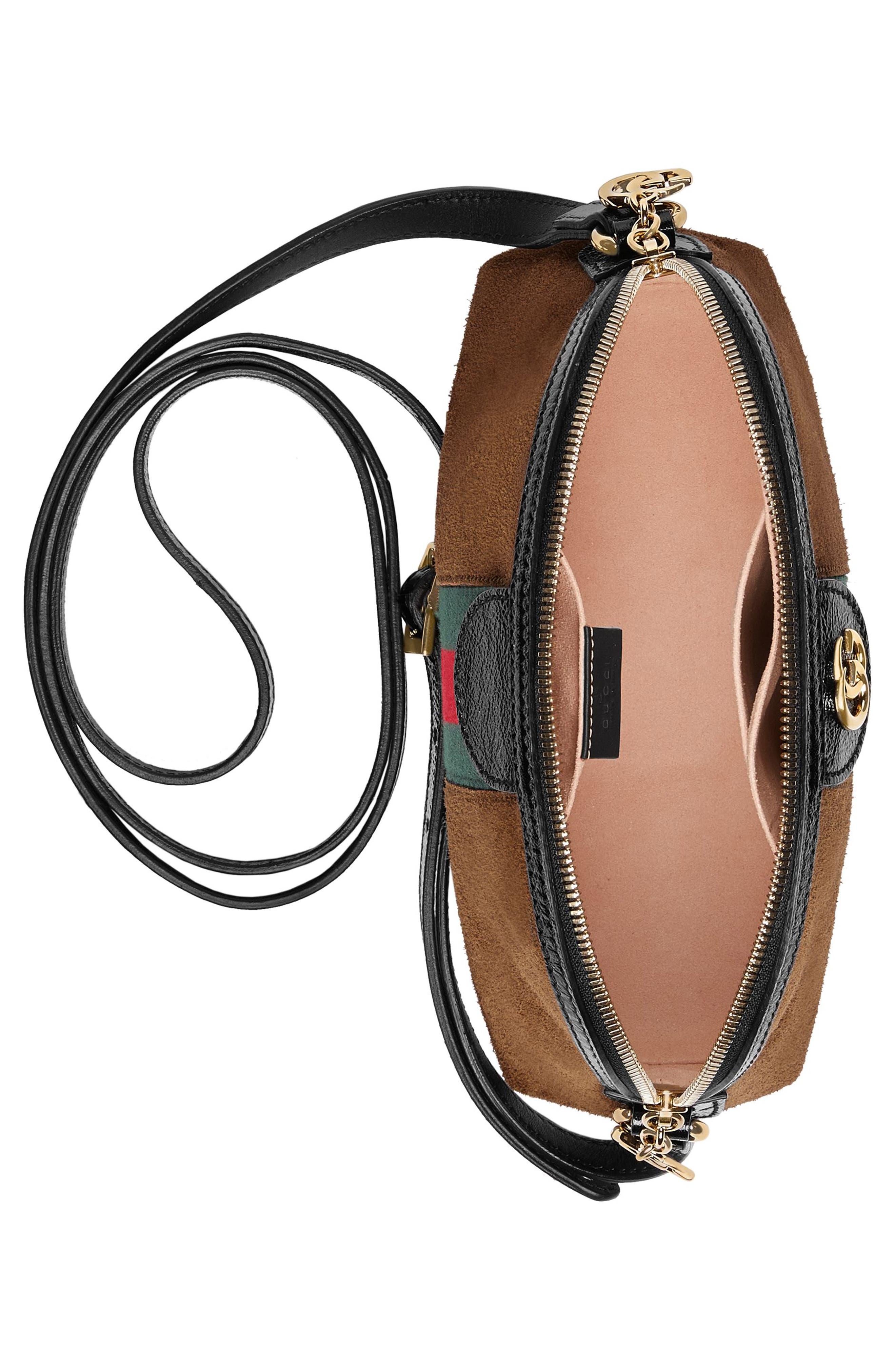 Small Suede Shoulder Bag,                             Alternate thumbnail 3, color,                             Nocciola/ Nero/ Vert Red Vert