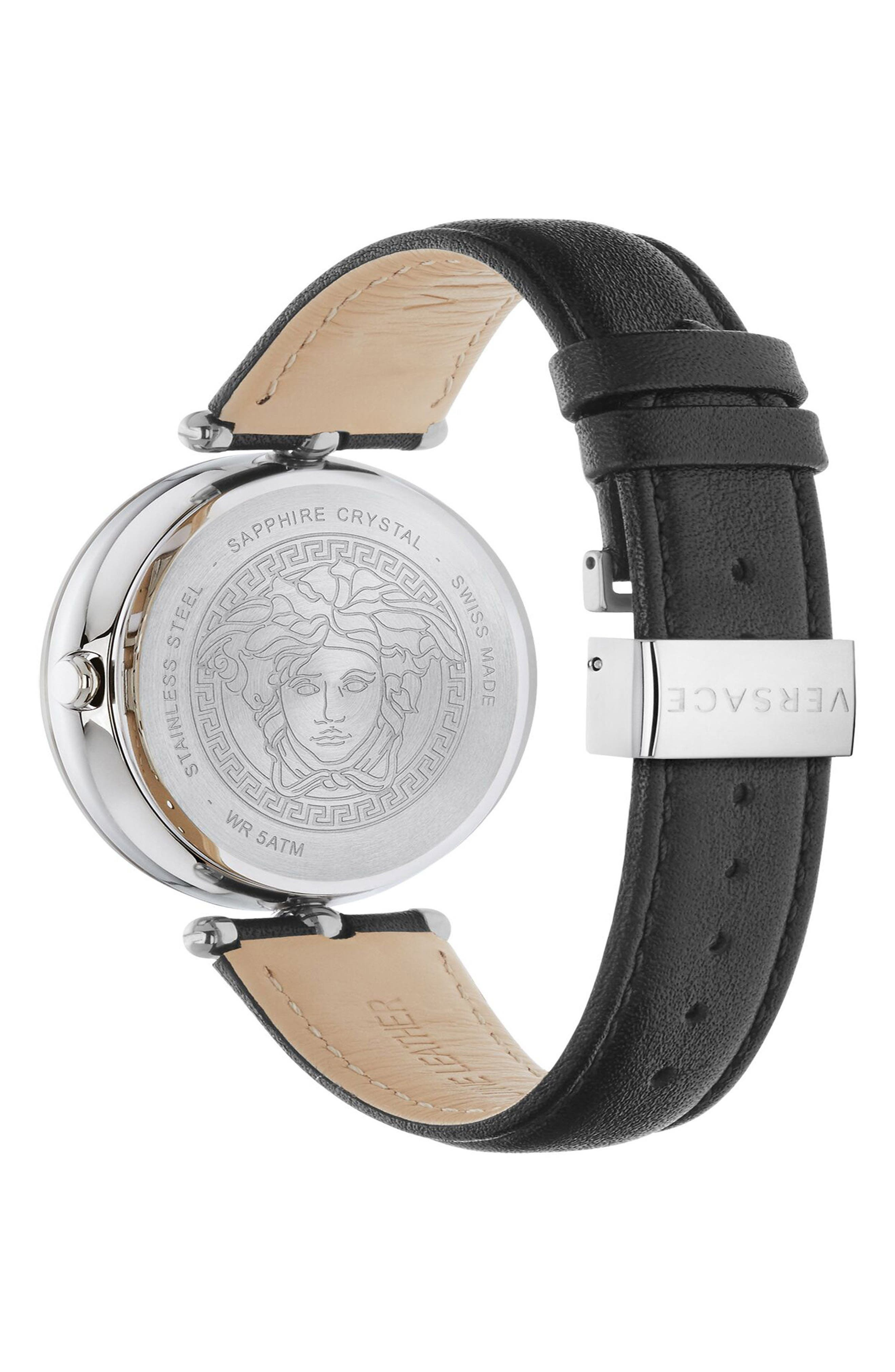 Alternate Image 2  - Versace Palazzo Empire Leather Strap Watch, 39mm