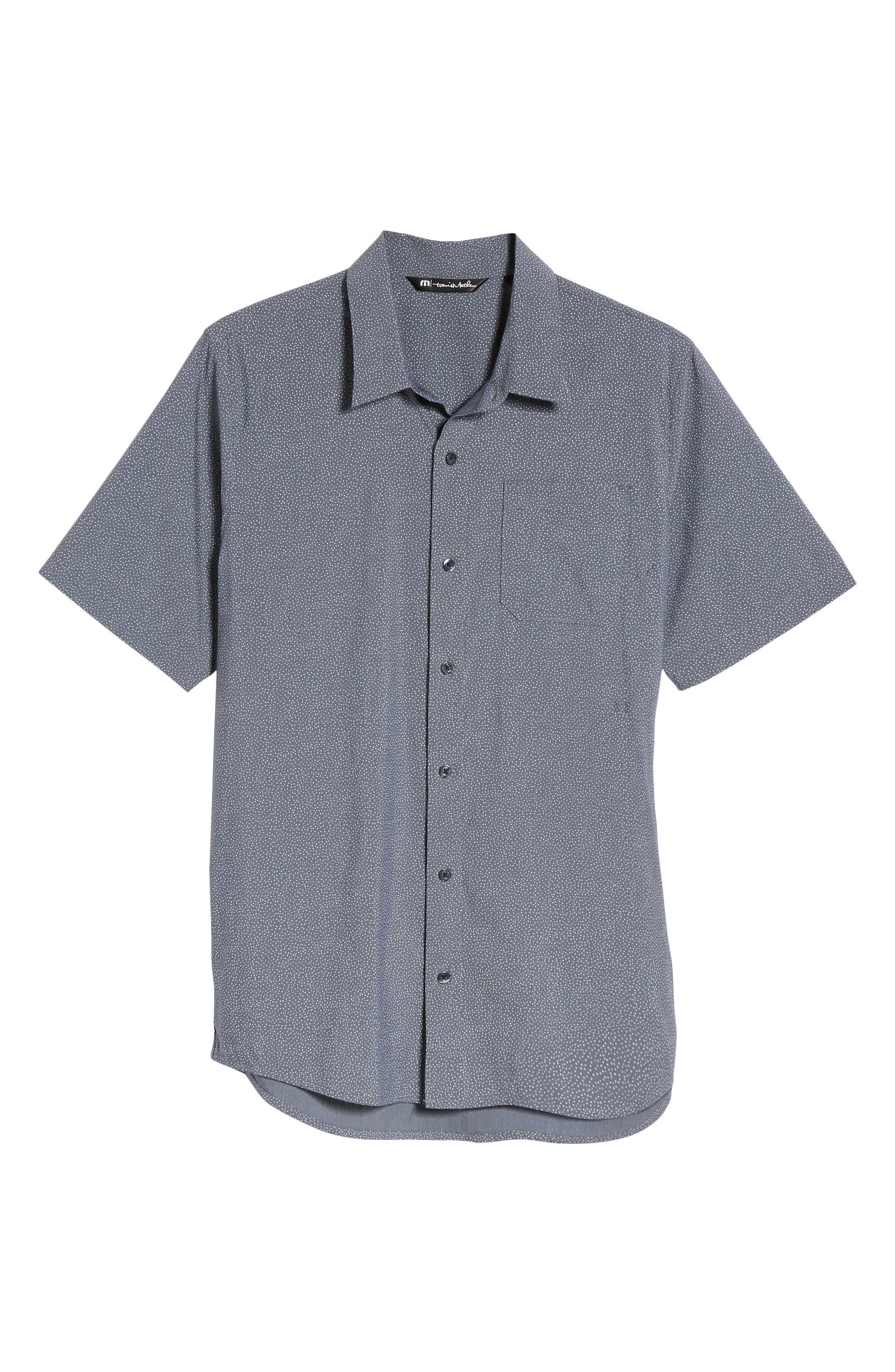 Particles Spot Print Sport Shirt,                             Alternate thumbnail 6, color,                             Blue Nights