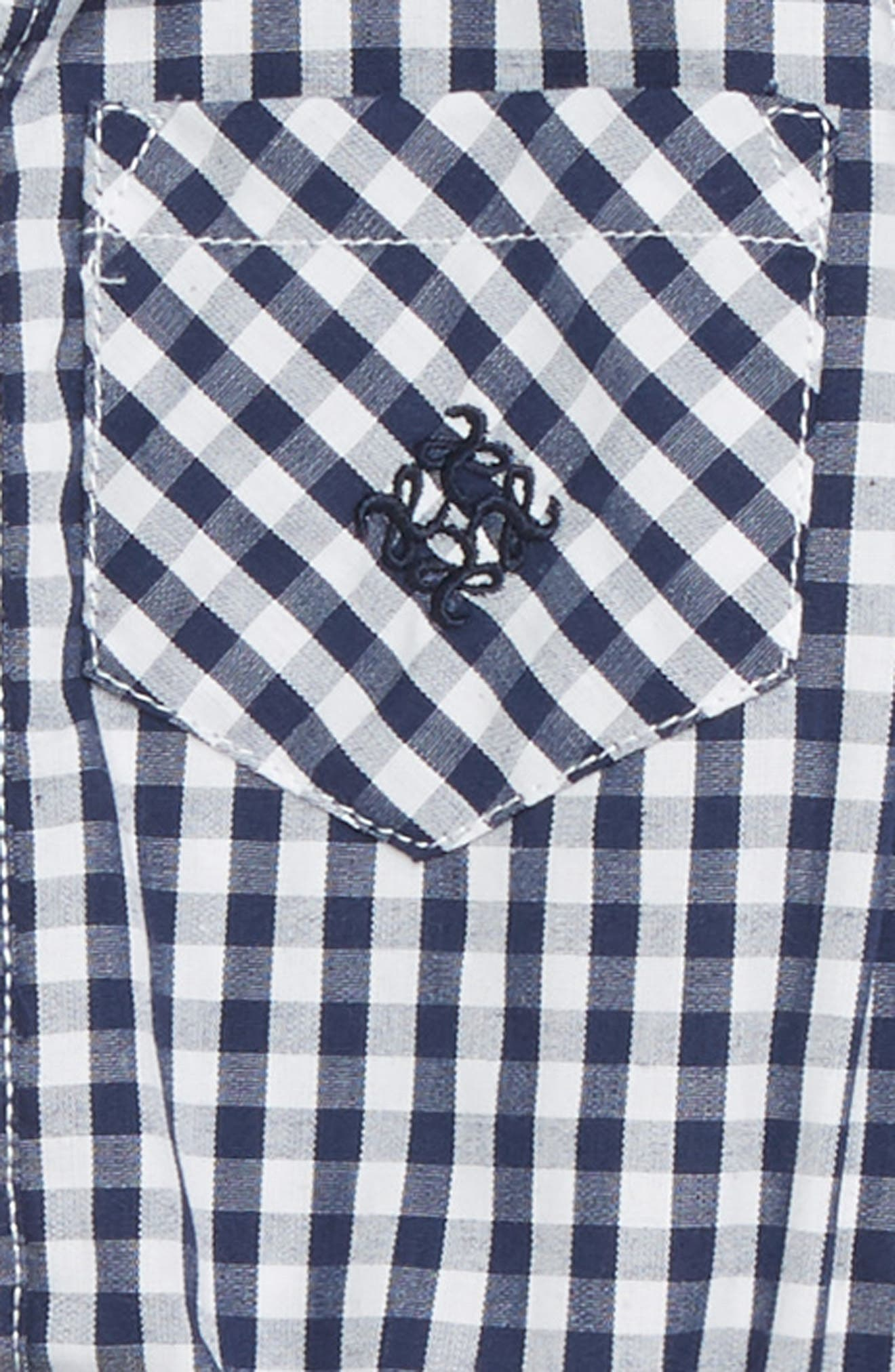 Alternate Image 2  - Andy & Evan Shirtzie Gingham Check Bodysuit & Pants Set (Baby Boys)