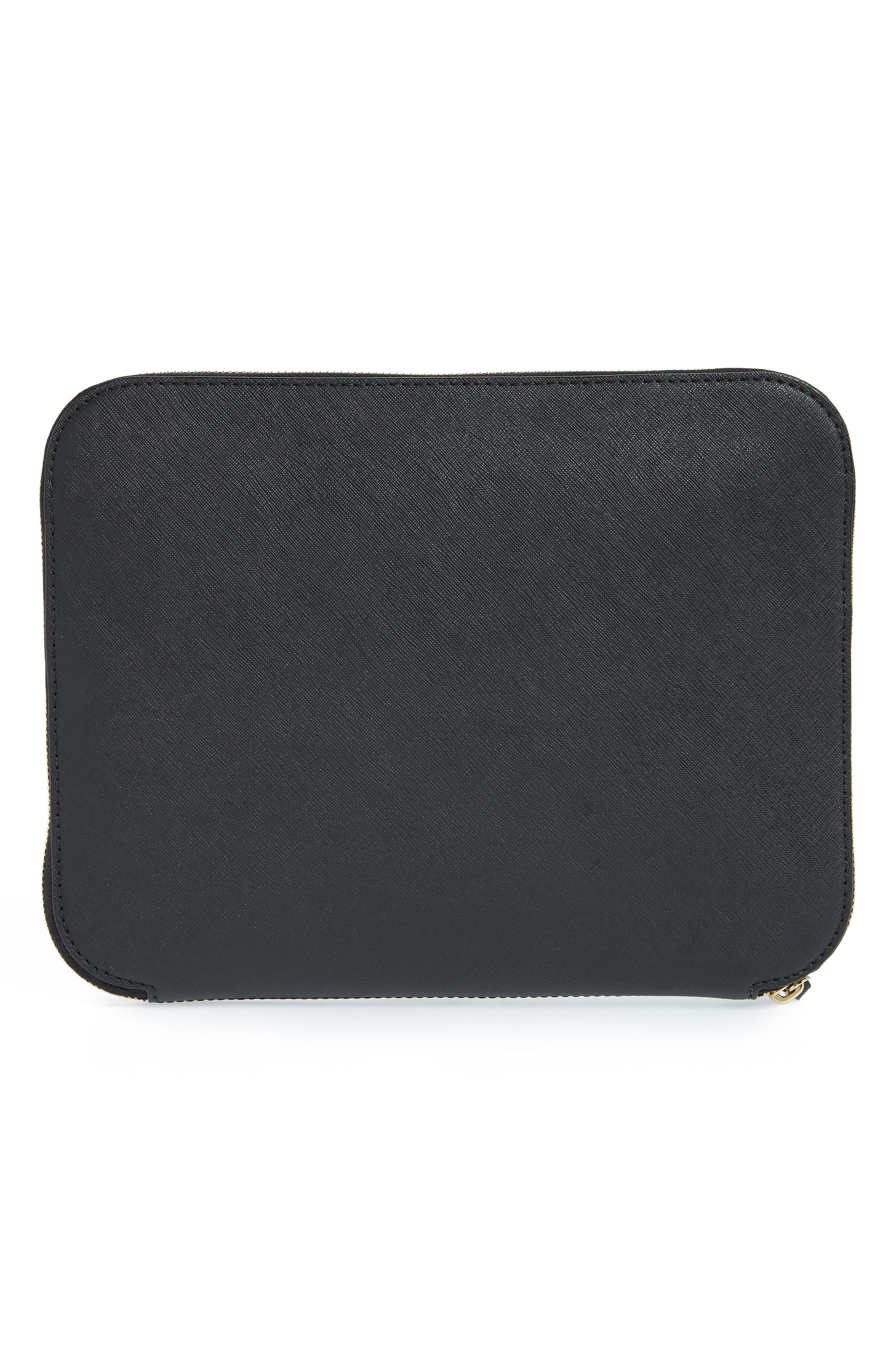 saffiano leather organization tablet sleeve,                             Alternate thumbnail 4, color,                             Black
