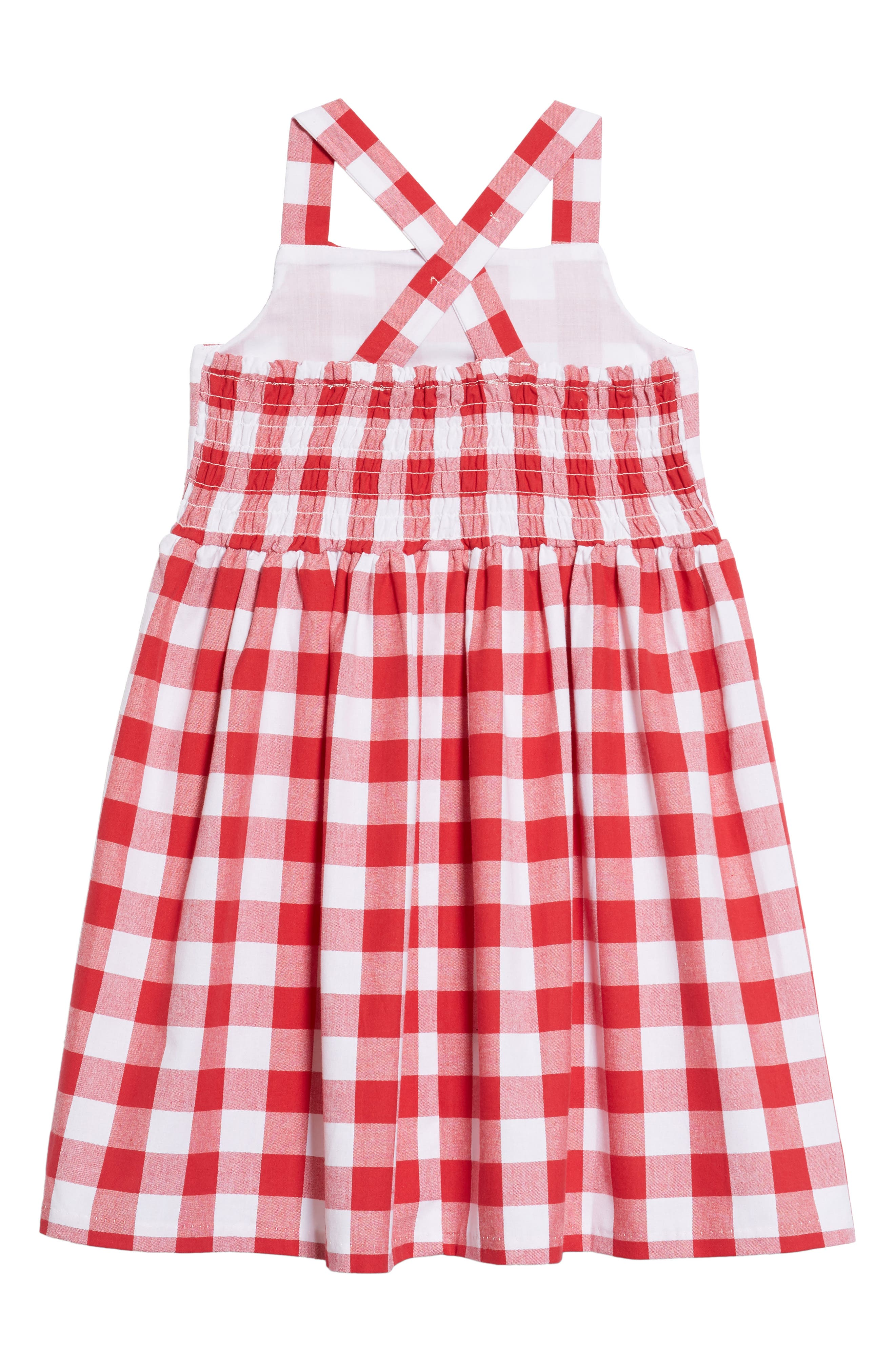 Pastourelle by Pippa and Julie Cross Back Gingham Dress,                             Alternate thumbnail 2, color,                             Red/ White