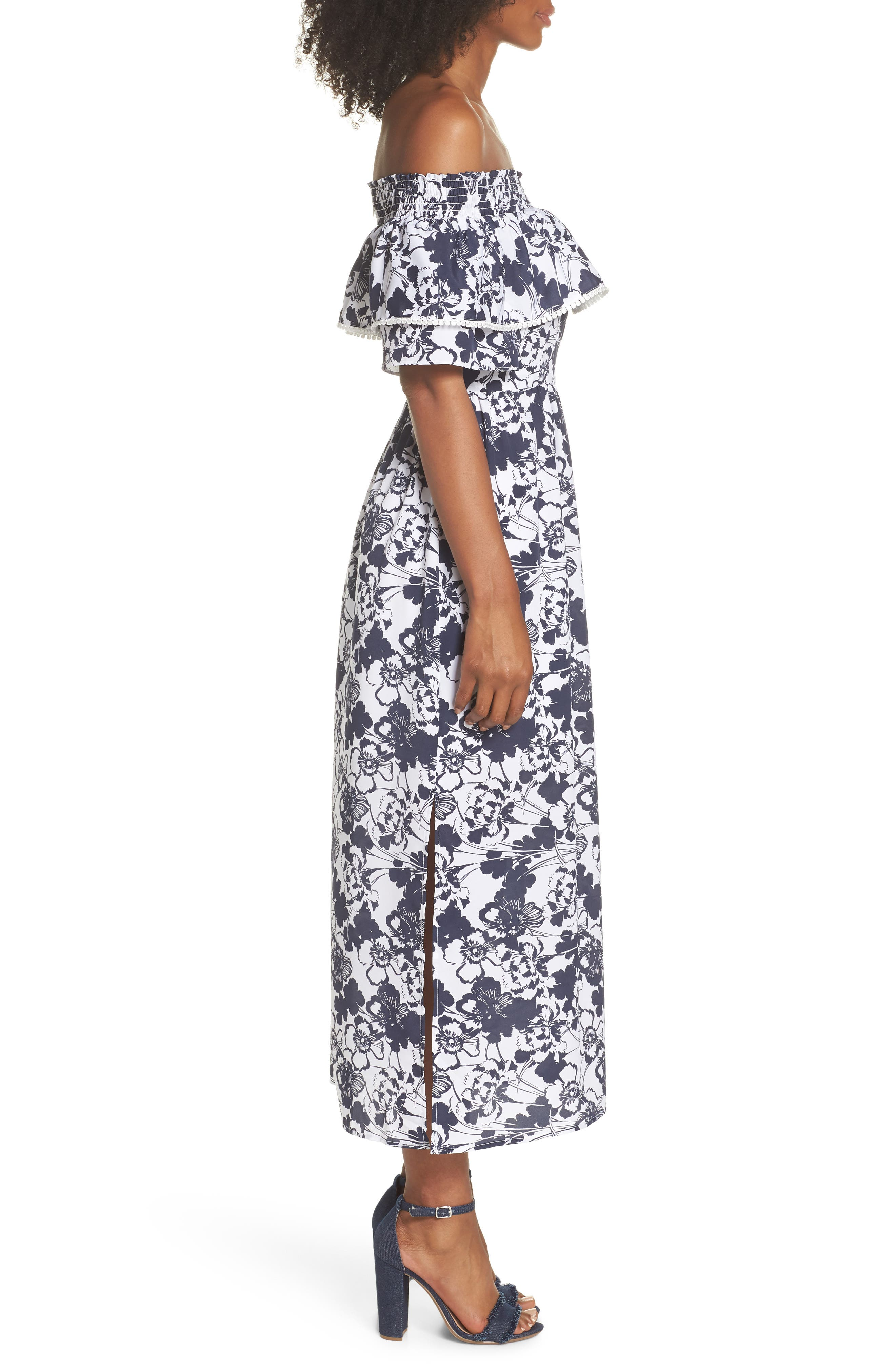 Off the Shoulder Ruffle Maxi Dress,                             Alternate thumbnail 4, color,                             Navy Ivory Floral Print