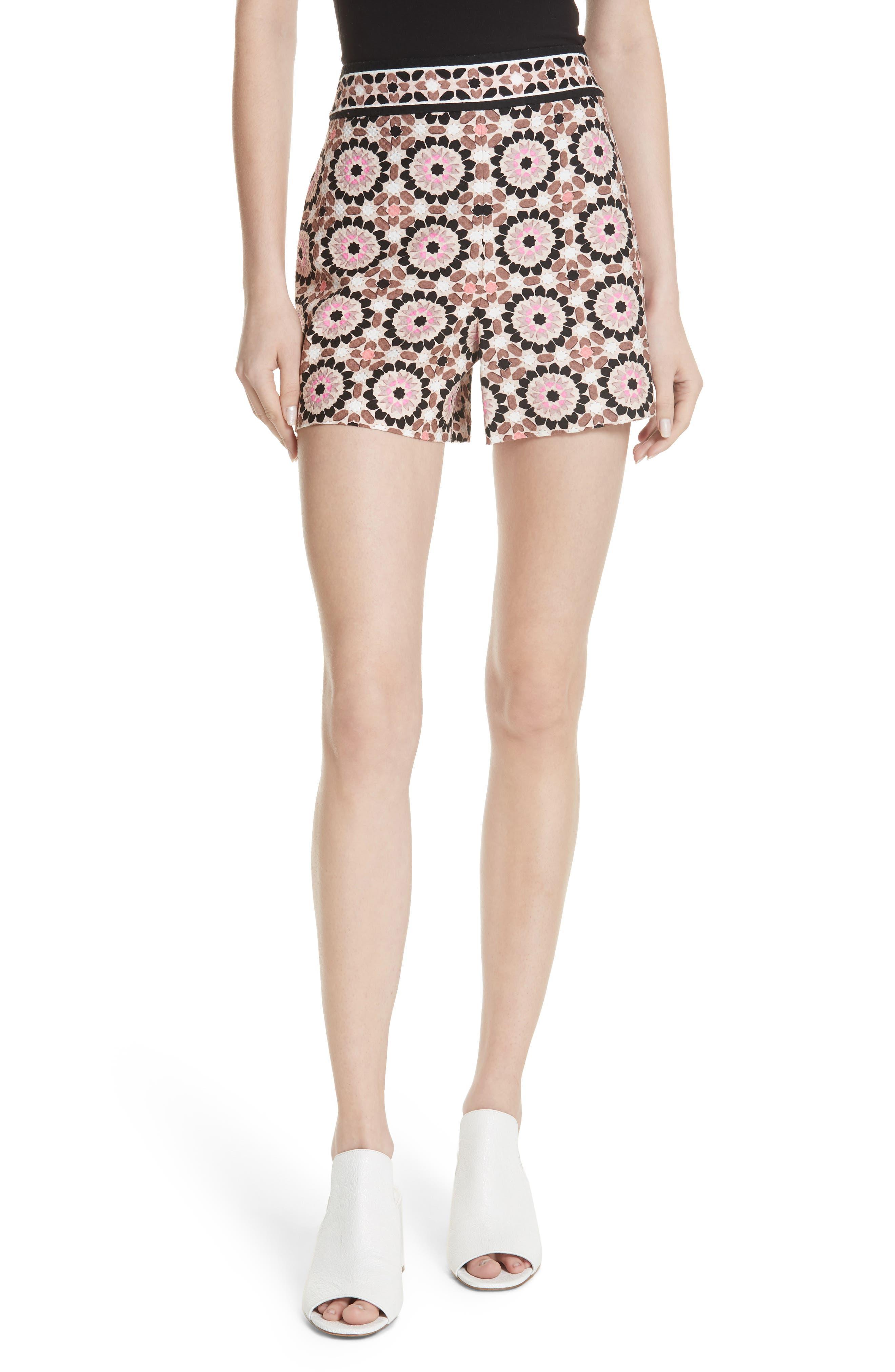 floral mosaic jacquard shorts,                         Main,                         color, Pearl Pink Multi