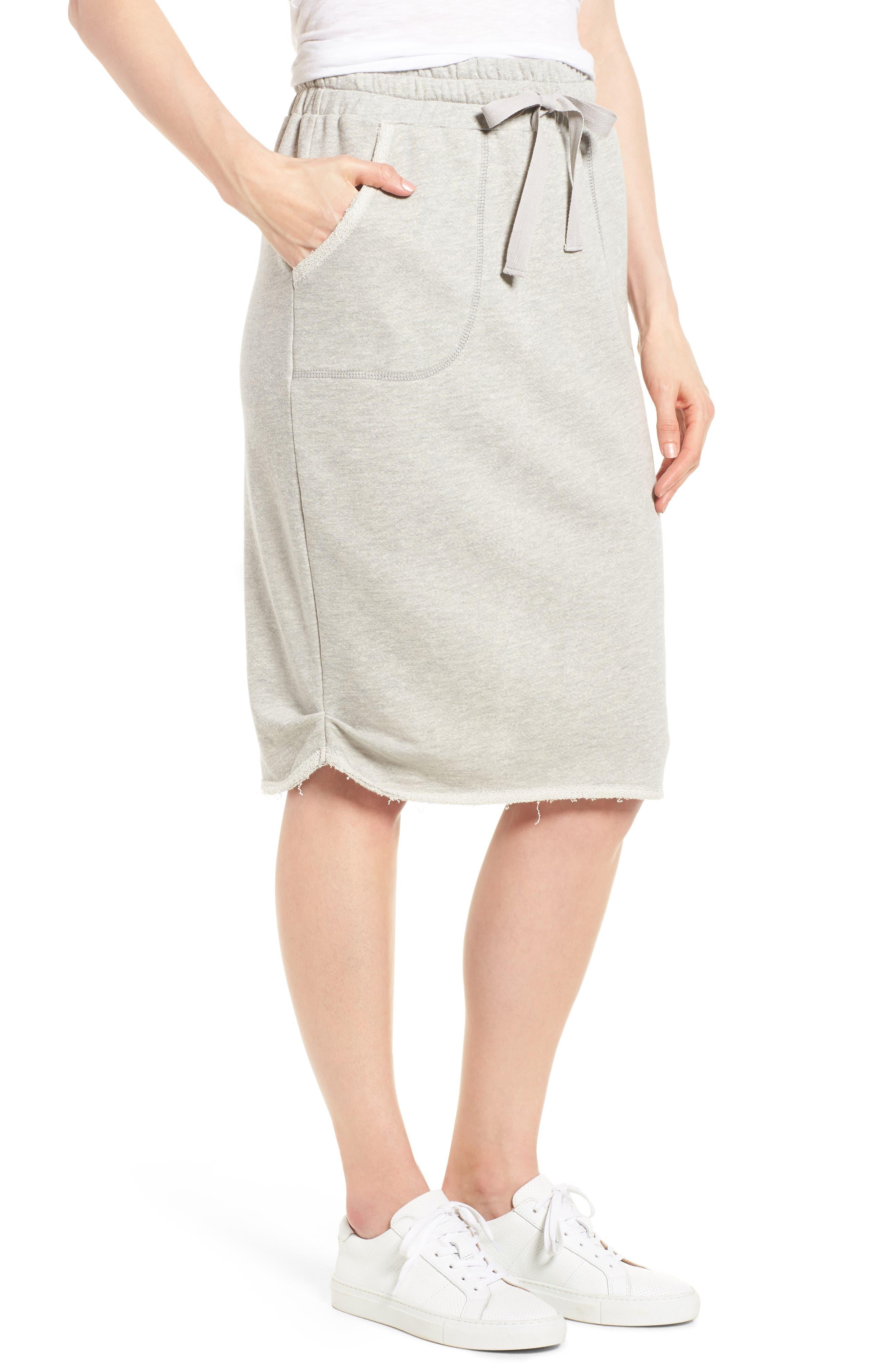Off-Duty Cotton Knit Drawstring Skirt,                             Main thumbnail 1, color,                             Grey Heather