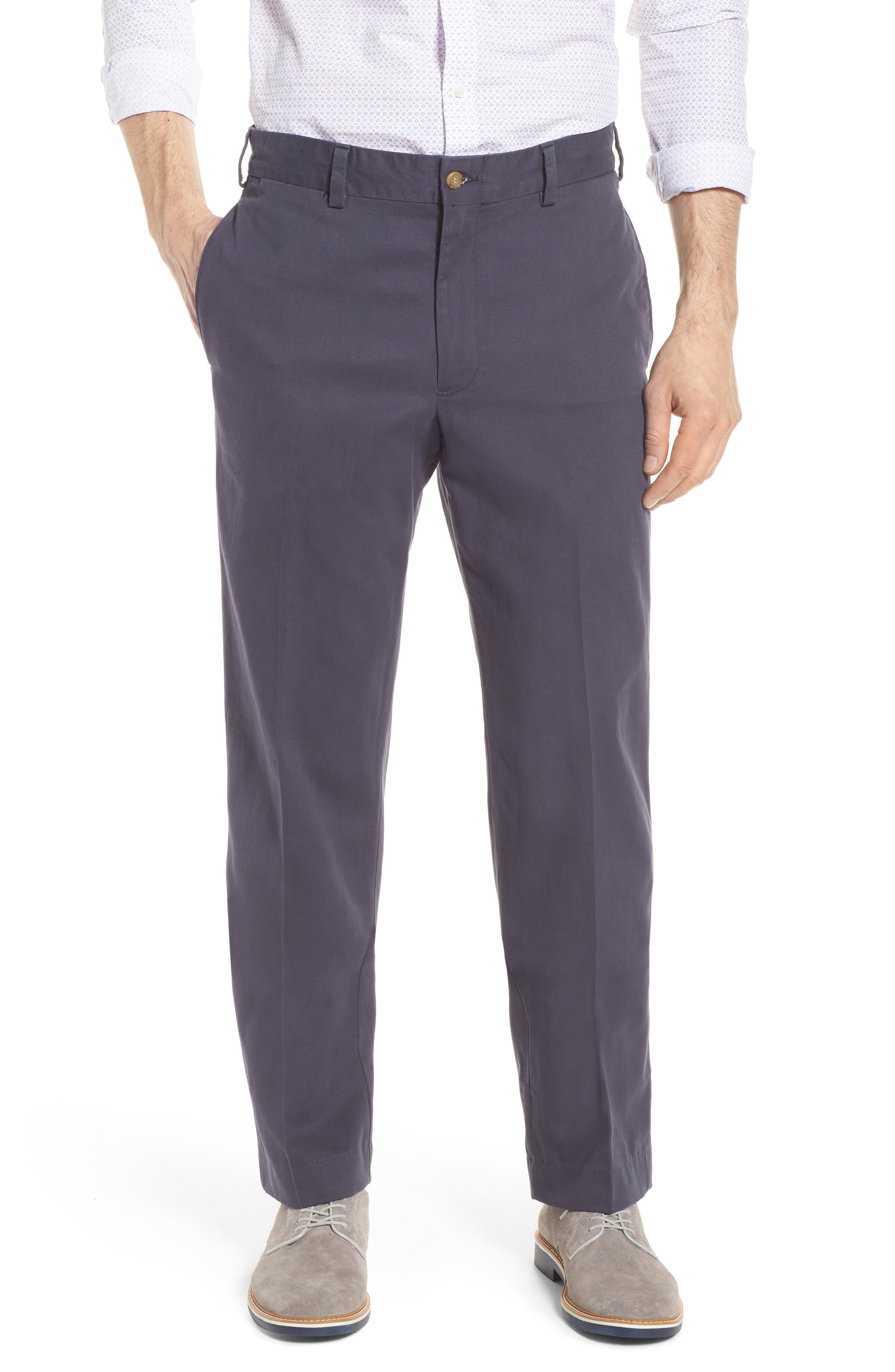 M2 Classic Fit Flat Front Vintage Twill Pants,                         Main,                         color, Navy