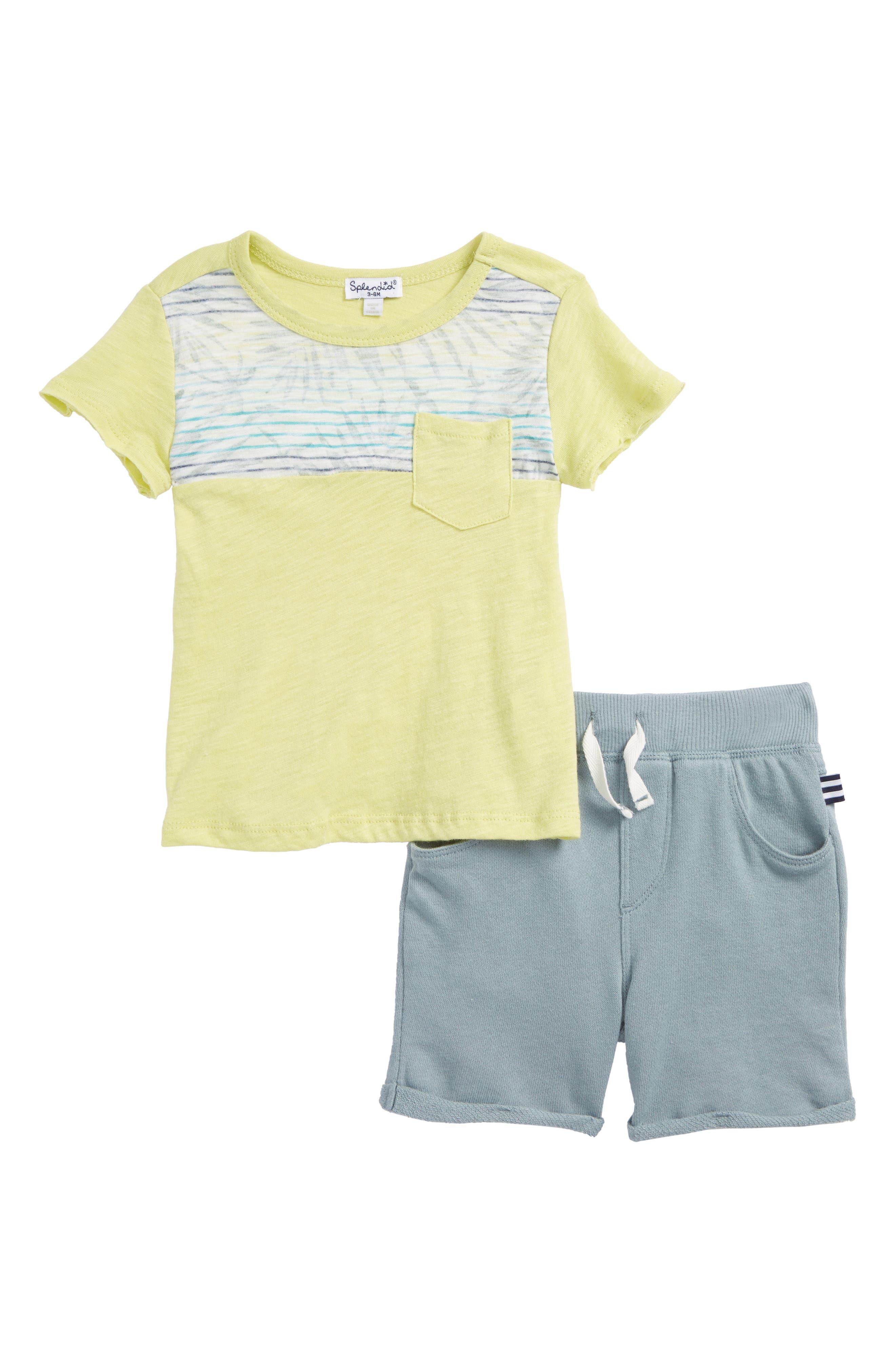 T-Shirt & Shorts Set,                             Main thumbnail 1, color,                             Sea Fern