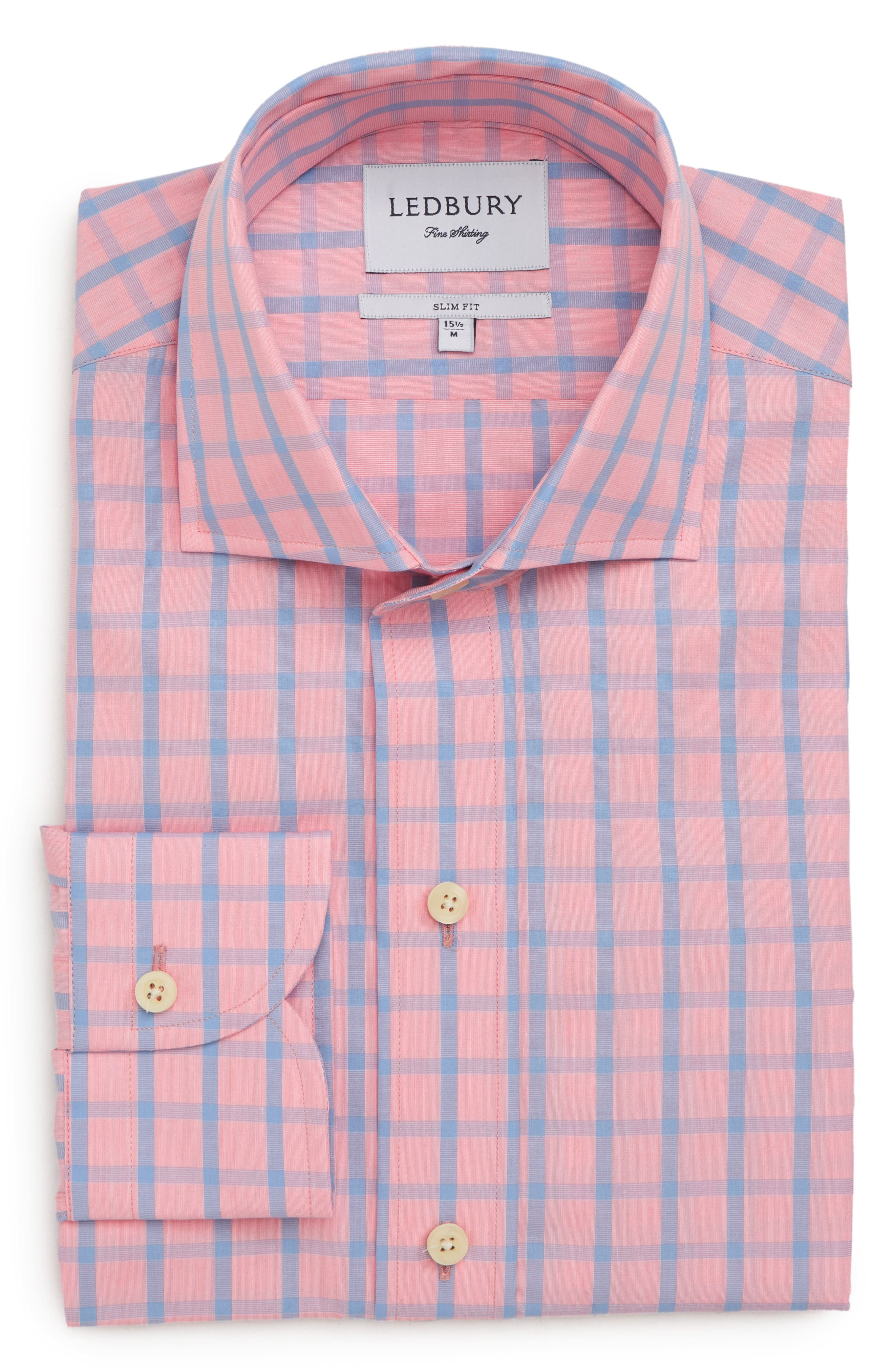 Hayden Trim Fit Windowpane Dress Shirt,                             Alternate thumbnail 6, color,                             Salmon
