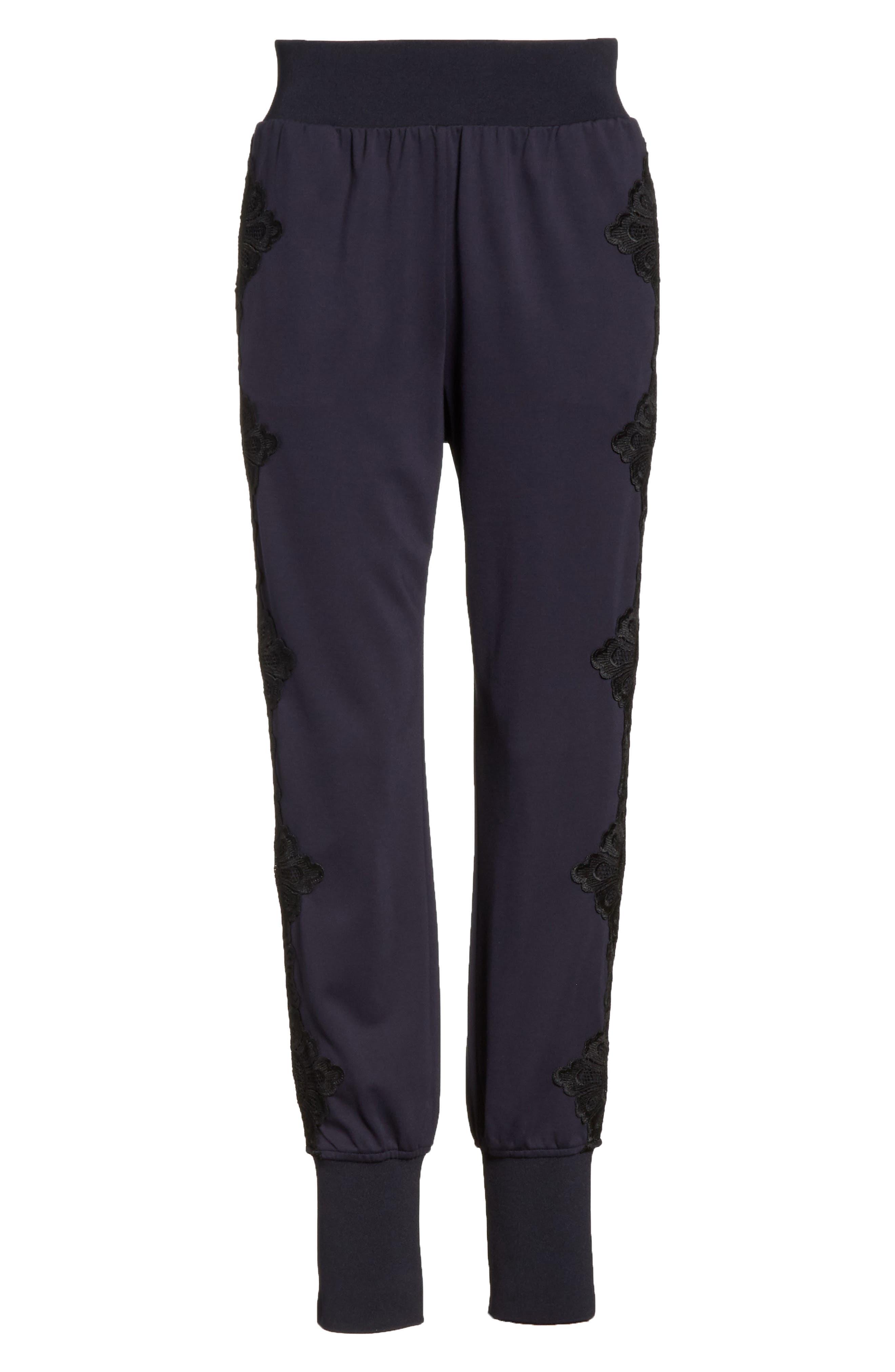 Lizeeba Lace Trim Jogger Pants,                             Alternate thumbnail 5, color,                             Navy