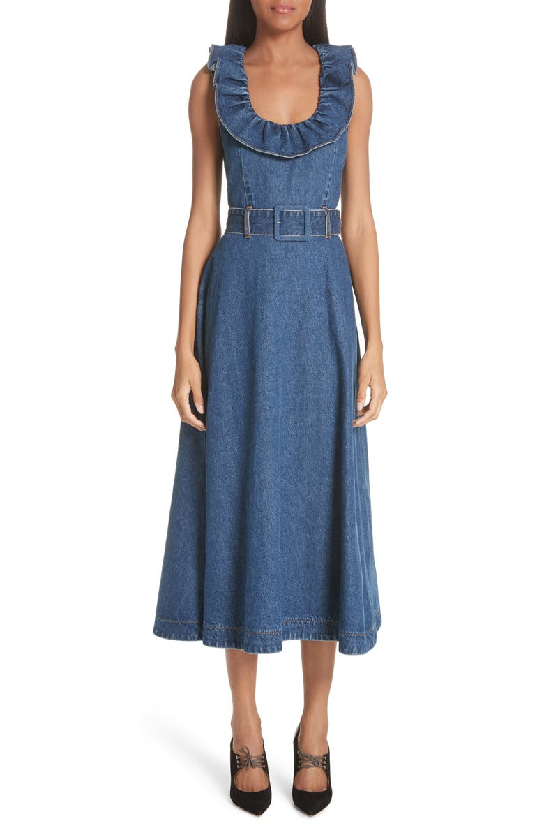 Ruffle Neck Belted Denim Dress