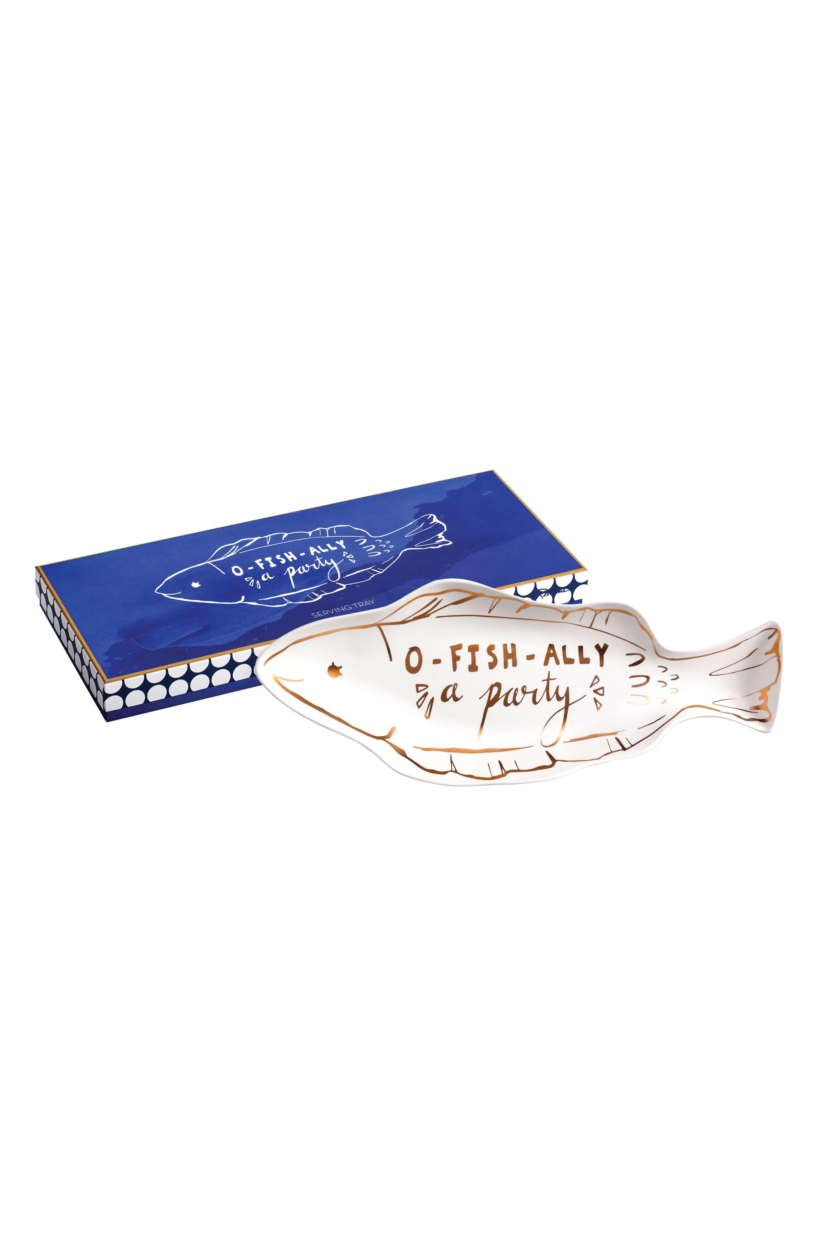 O-Fish-Ally Tray,                             Main thumbnail 1, color,                             White/ Gold