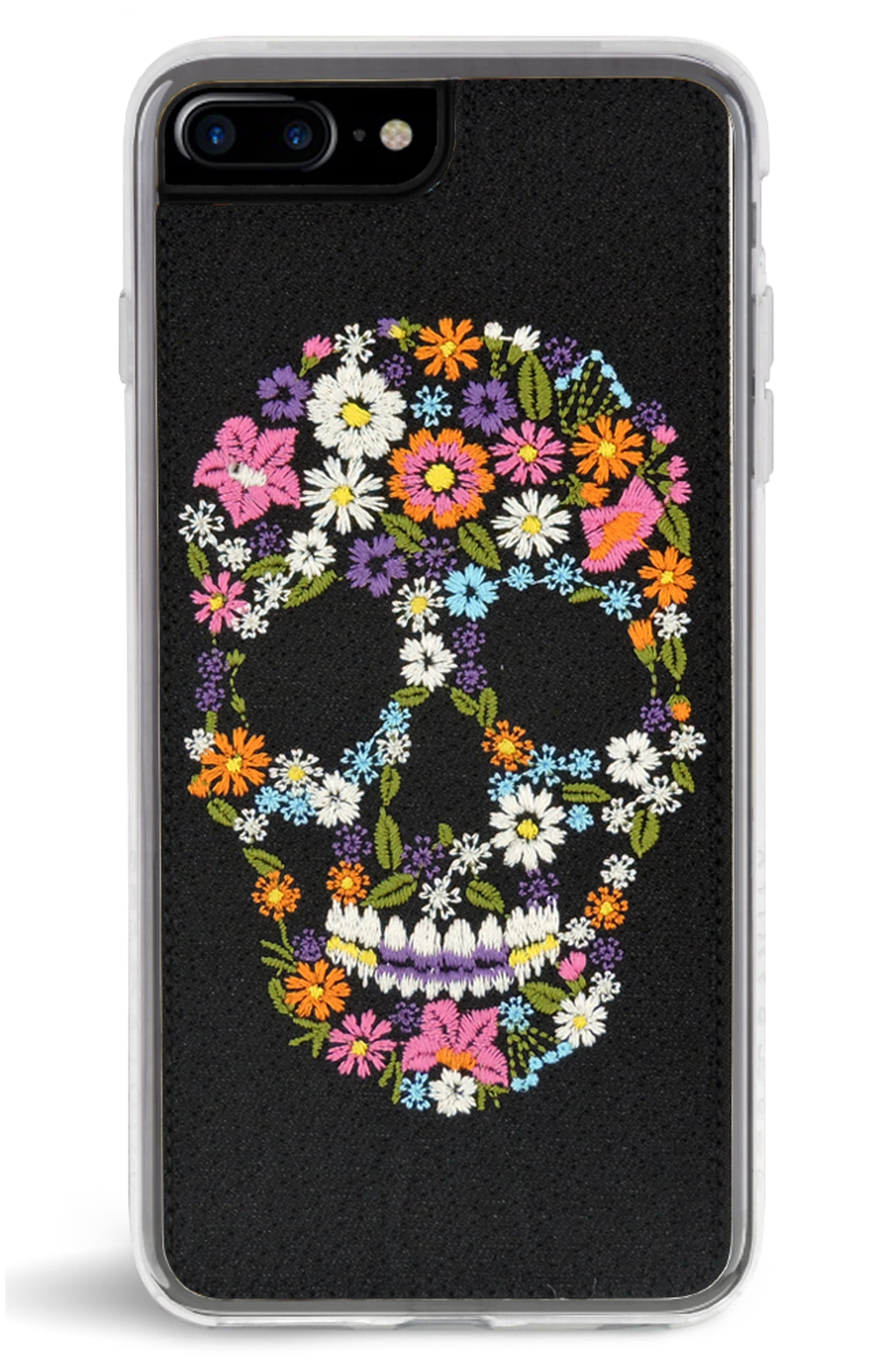 Calavera iPhone 7/8 & 7/8 Plus Case,                         Main,                         color, Black Multi