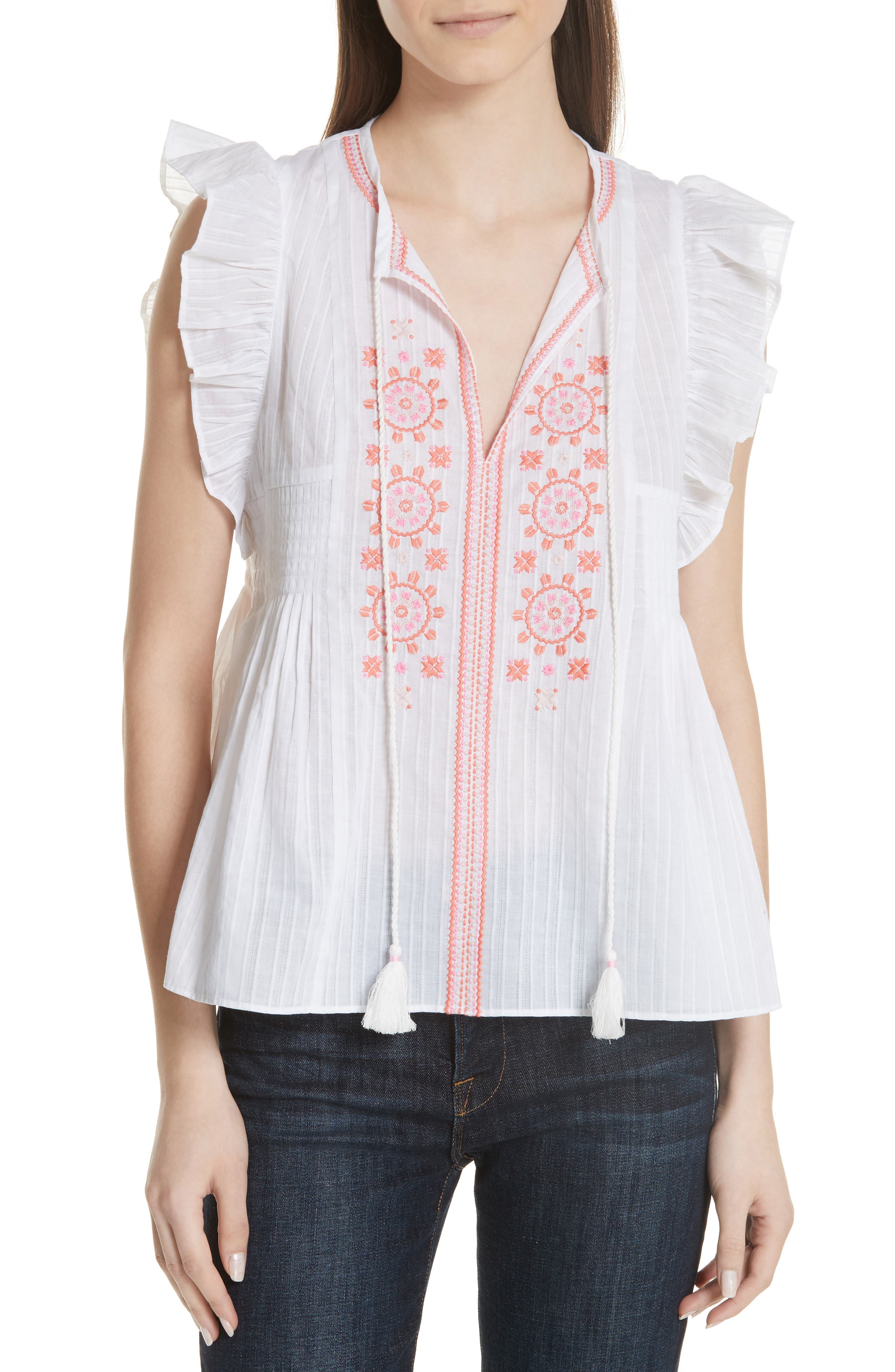 mosaic embroidered tassel top,                         Main,                         color, Fresh White