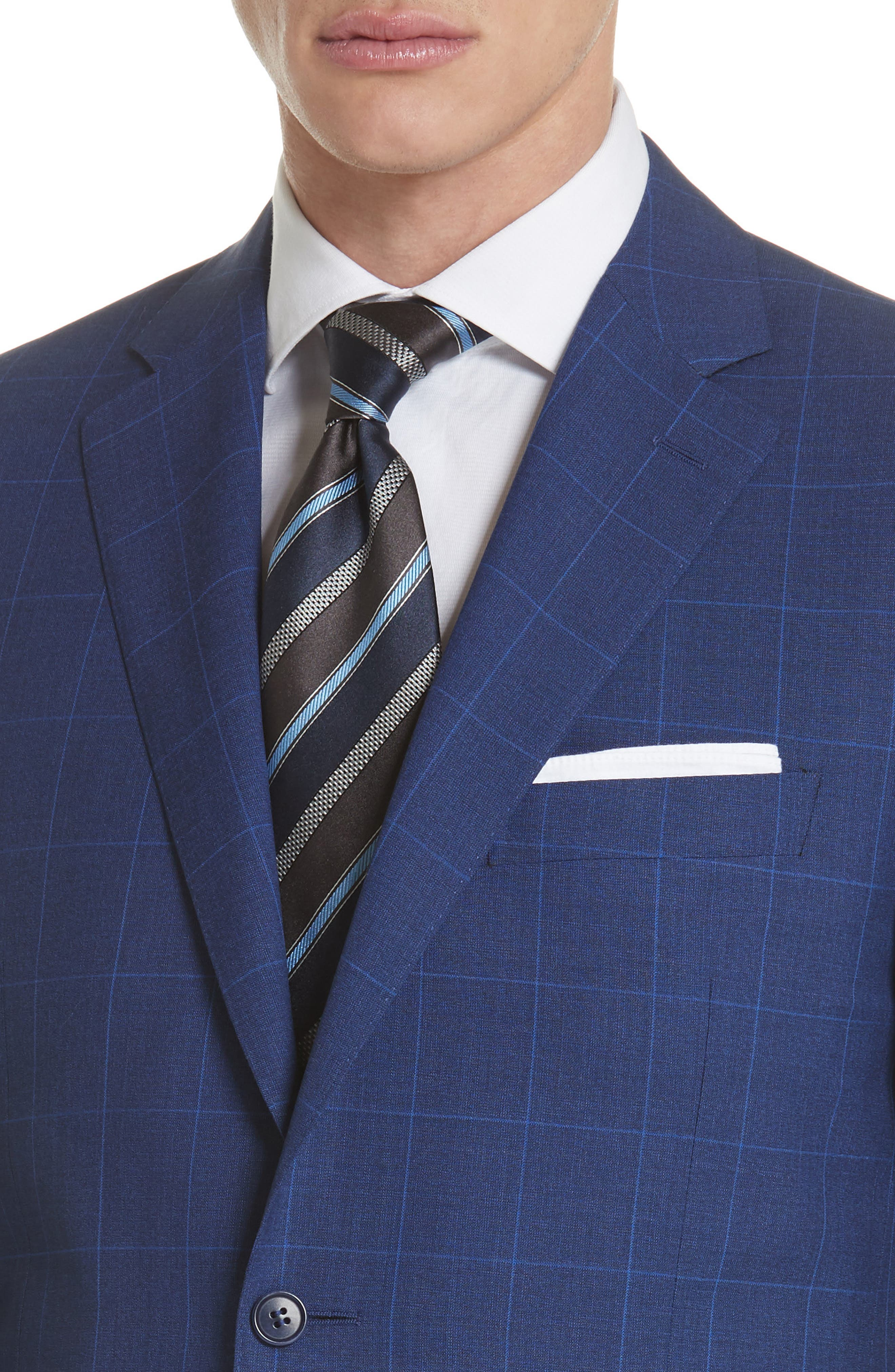 Classic Fit Windowpane Wool Suit,                             Alternate thumbnail 4, color,                             Blue