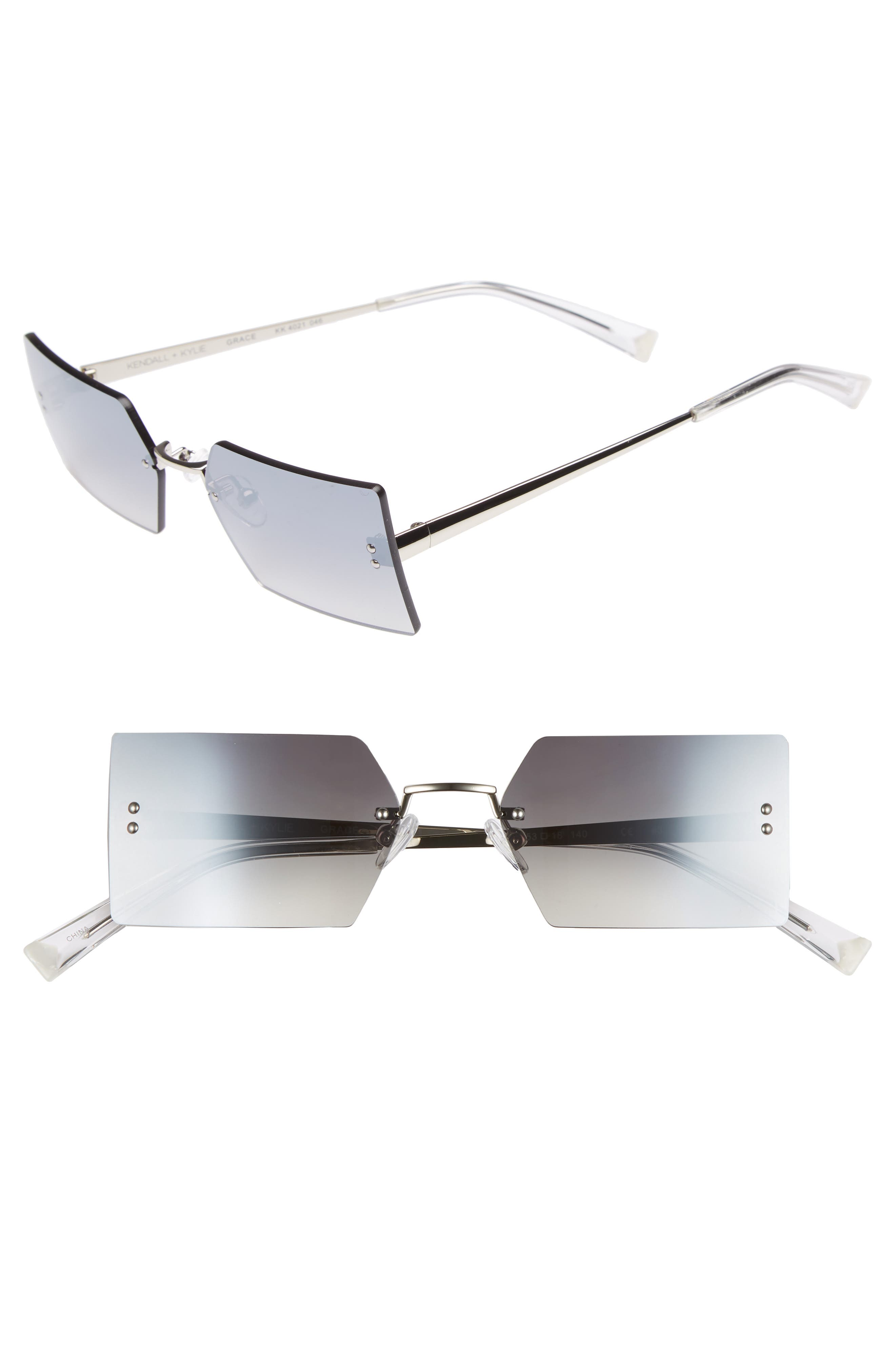 Grace 53mm Rimless Rectangular Sunglasses,                             Main thumbnail 1, color,                             Silver/ Smoke Gradient Flash