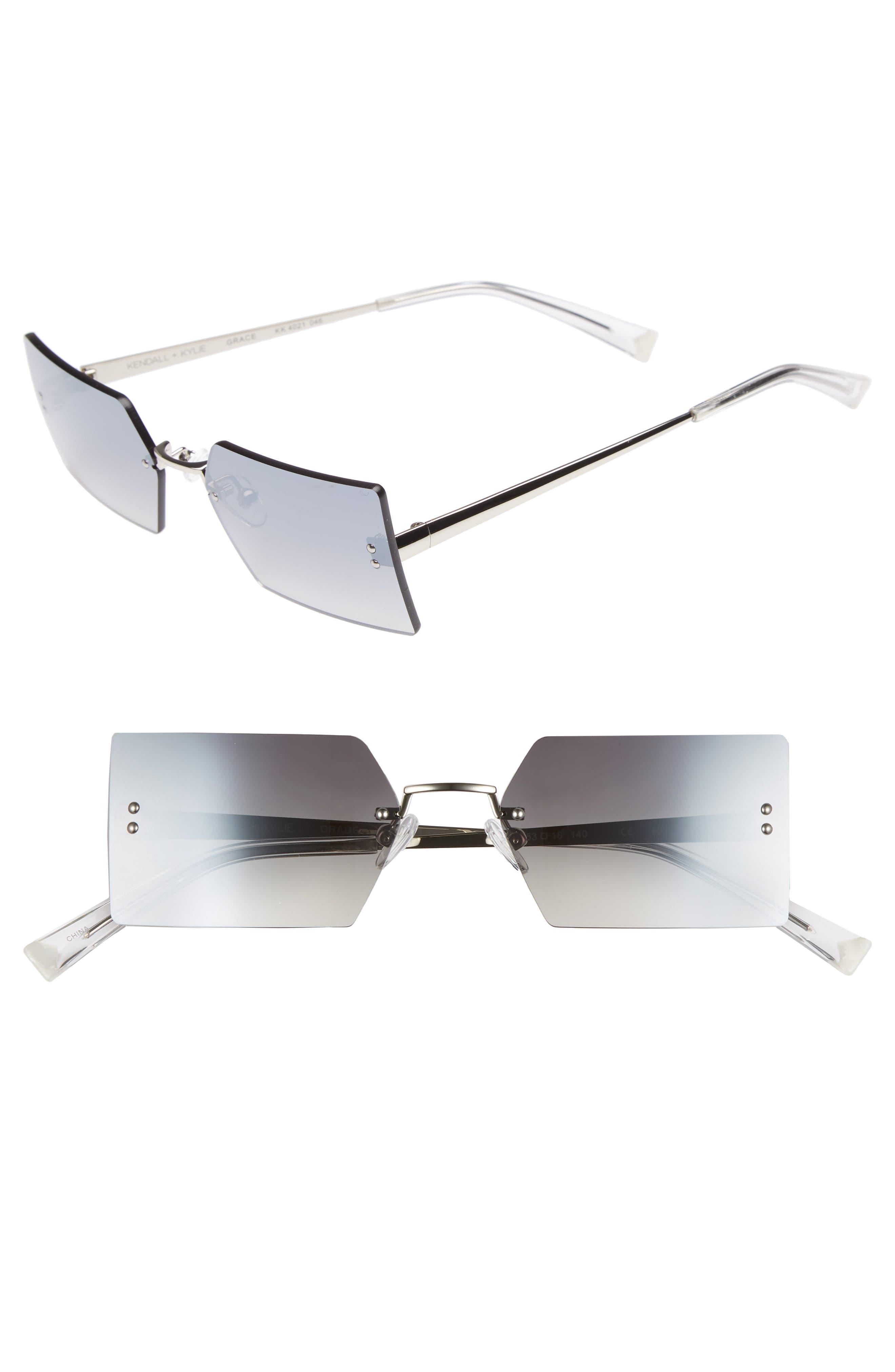Grace 53mm Rimless Rectangular Sunglasses,                         Main,                         color, Silver/ Smoke Gradient Flash