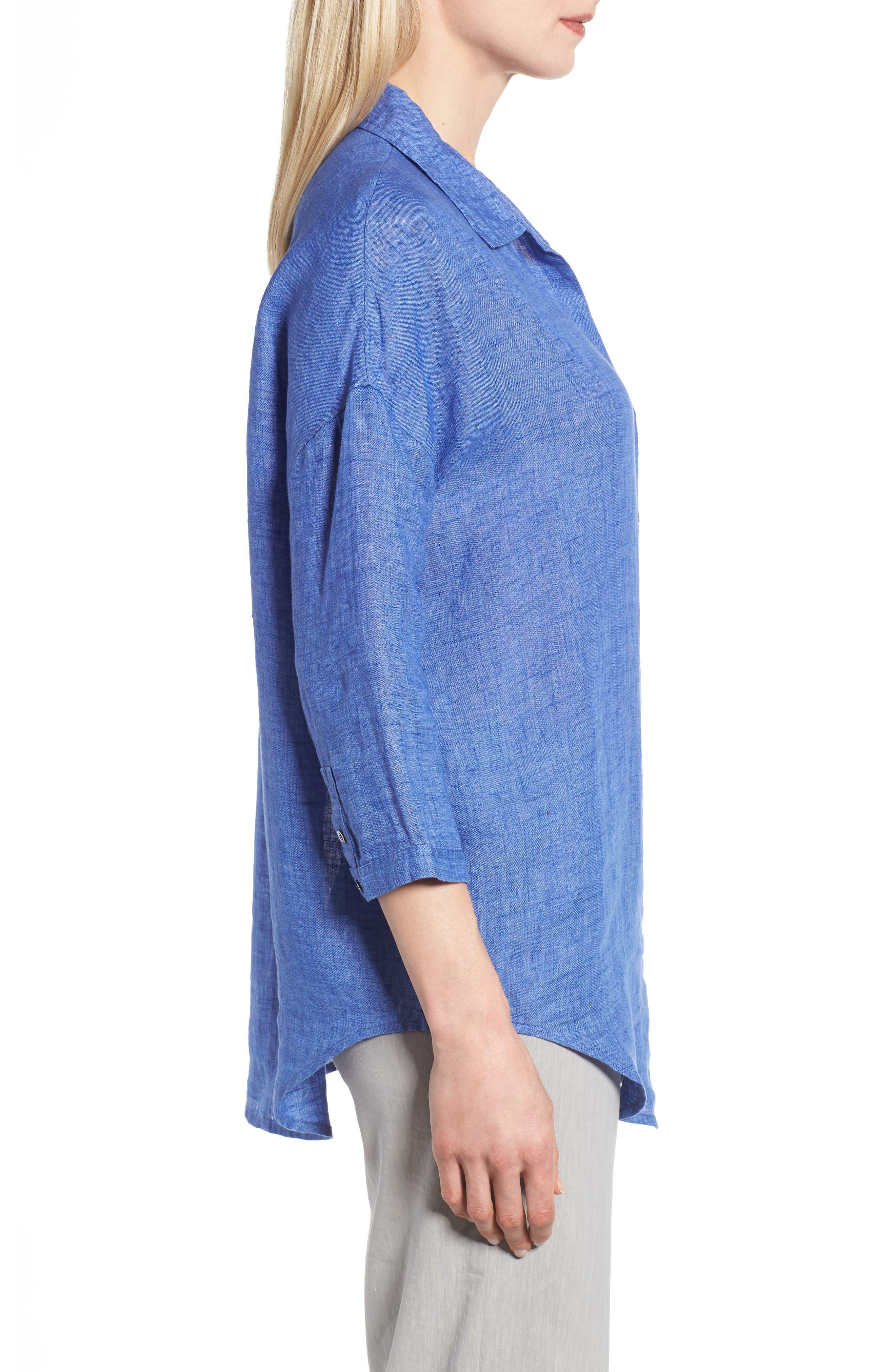 Joy Ride Linen Tunic Top,                             Alternate thumbnail 3, color,                             Ultramarine