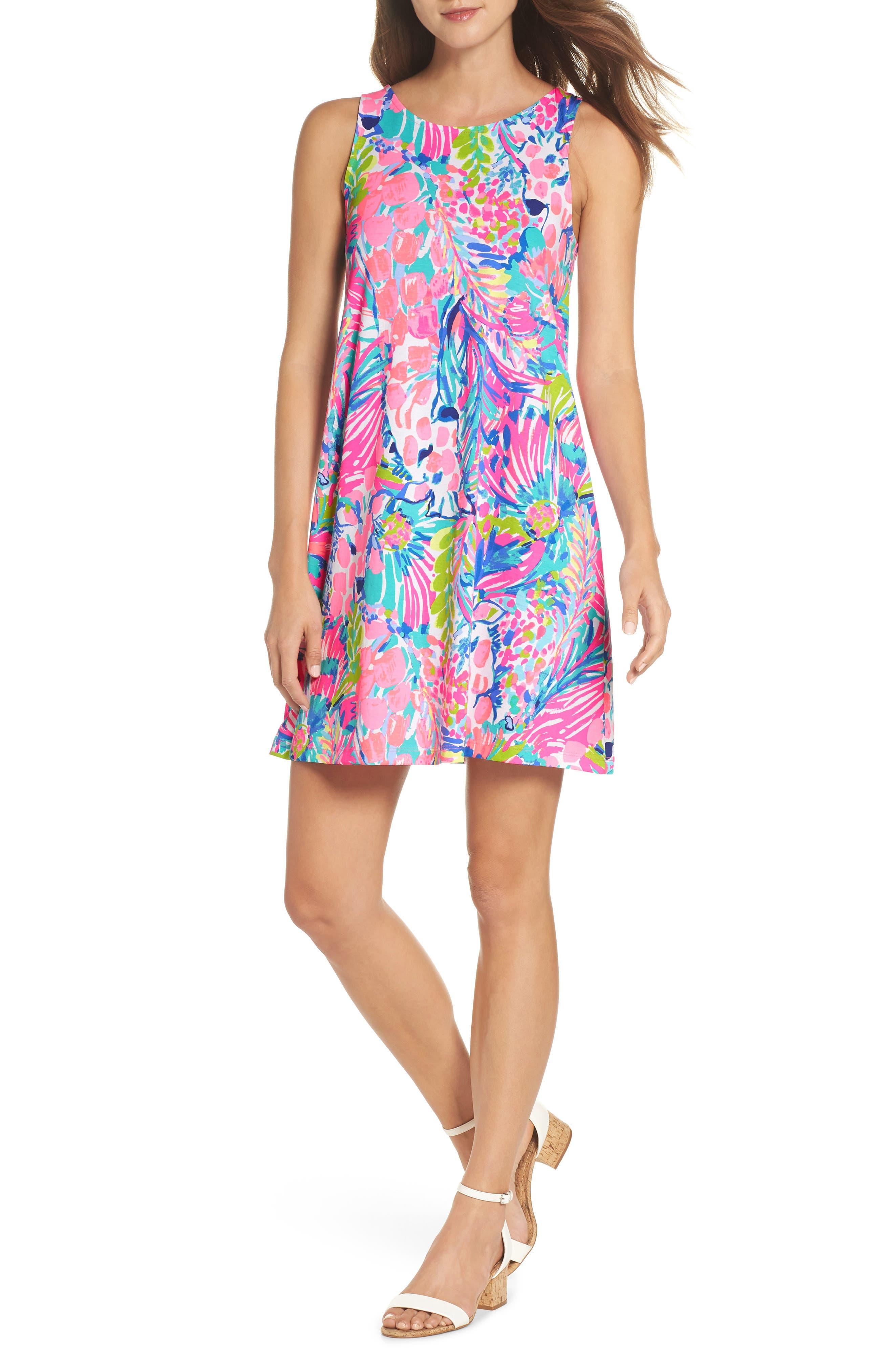 Kristen Trapeze Dress,                         Main,                         color, Multi Gumbo Limbo