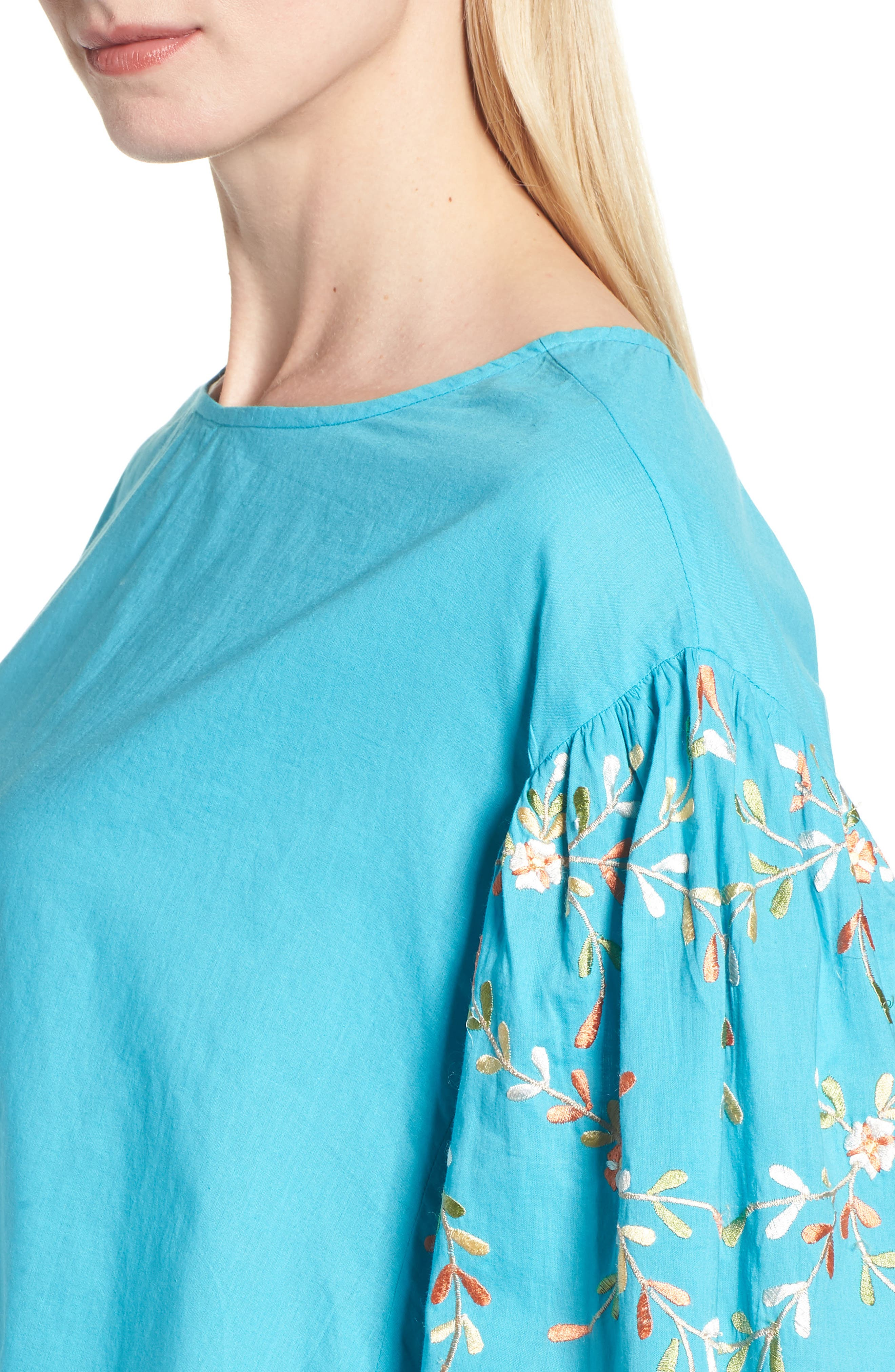 Coline Front Tie Embroidered Sleeve Blouse,                             Alternate thumbnail 4, color,                             Turquoise