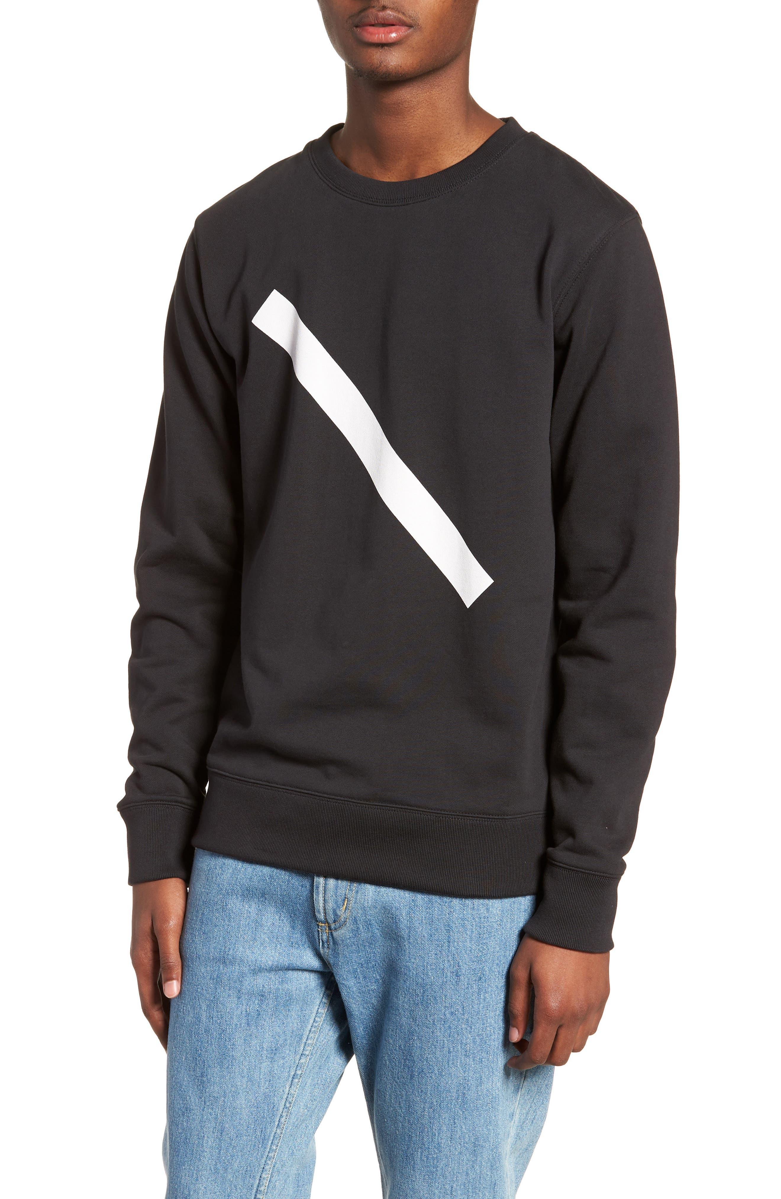 Bowery Slash Sweatshirt,                             Main thumbnail 1, color,                             Black