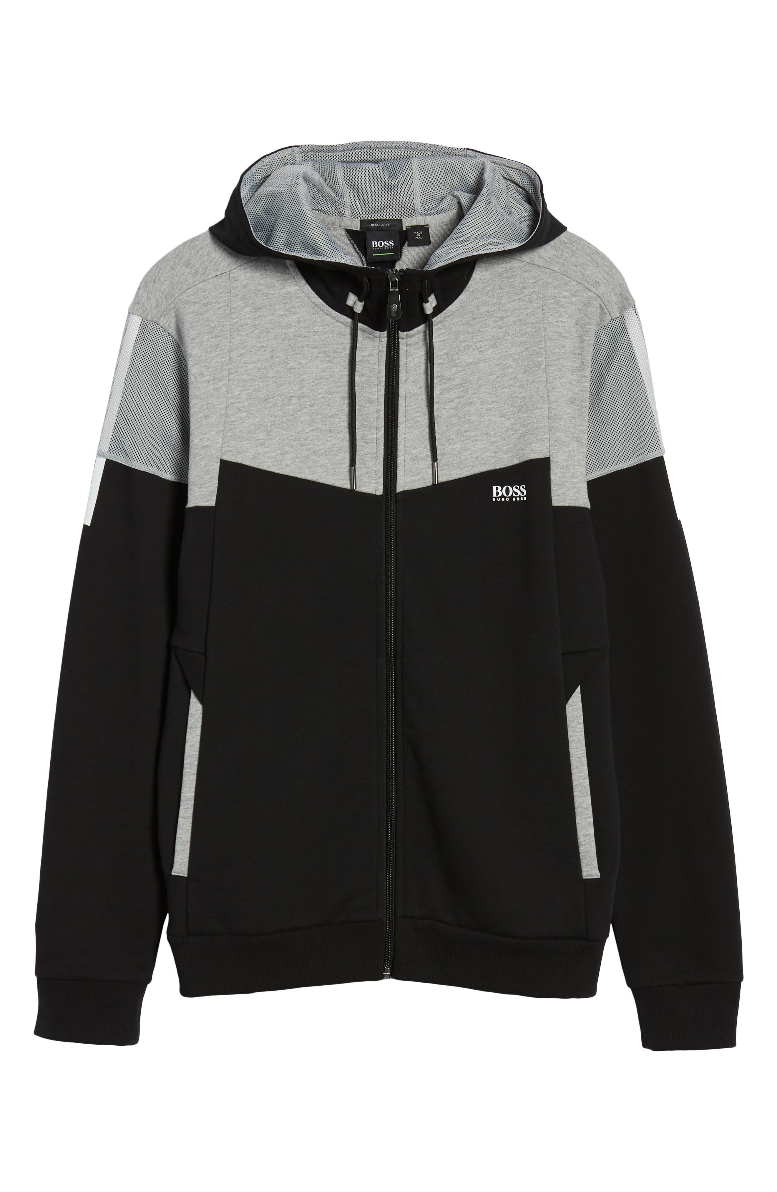 Regular Fit Hooded Fleece Jacket,                             Alternate thumbnail 6, color,                             Black