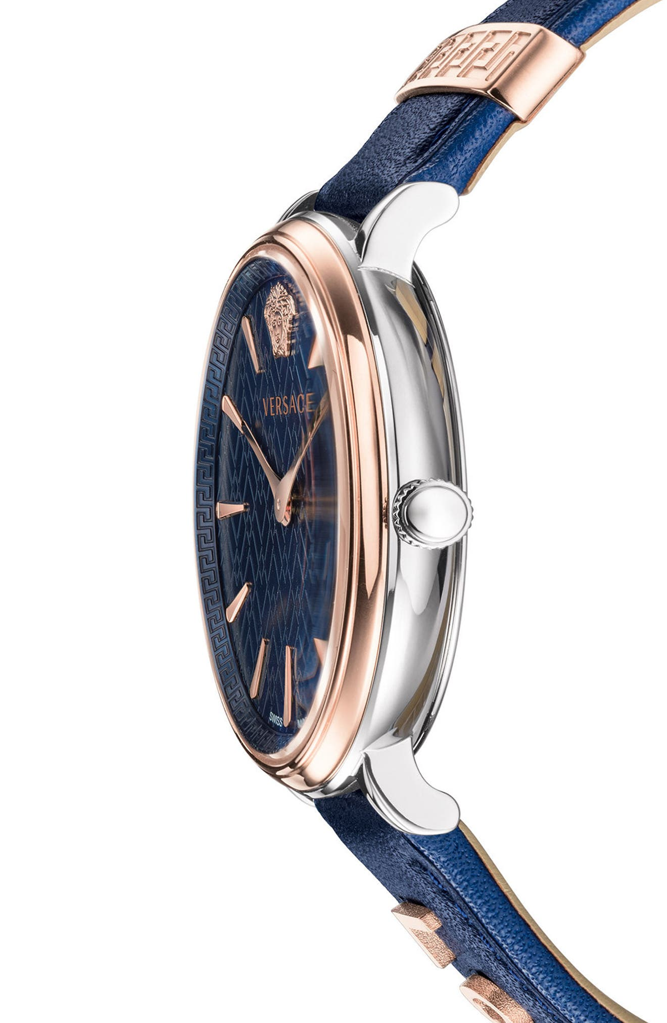 Manifesto Leather Strap Watch, 38mm,                             Alternate thumbnail 2, color,                             Blue/ Gold