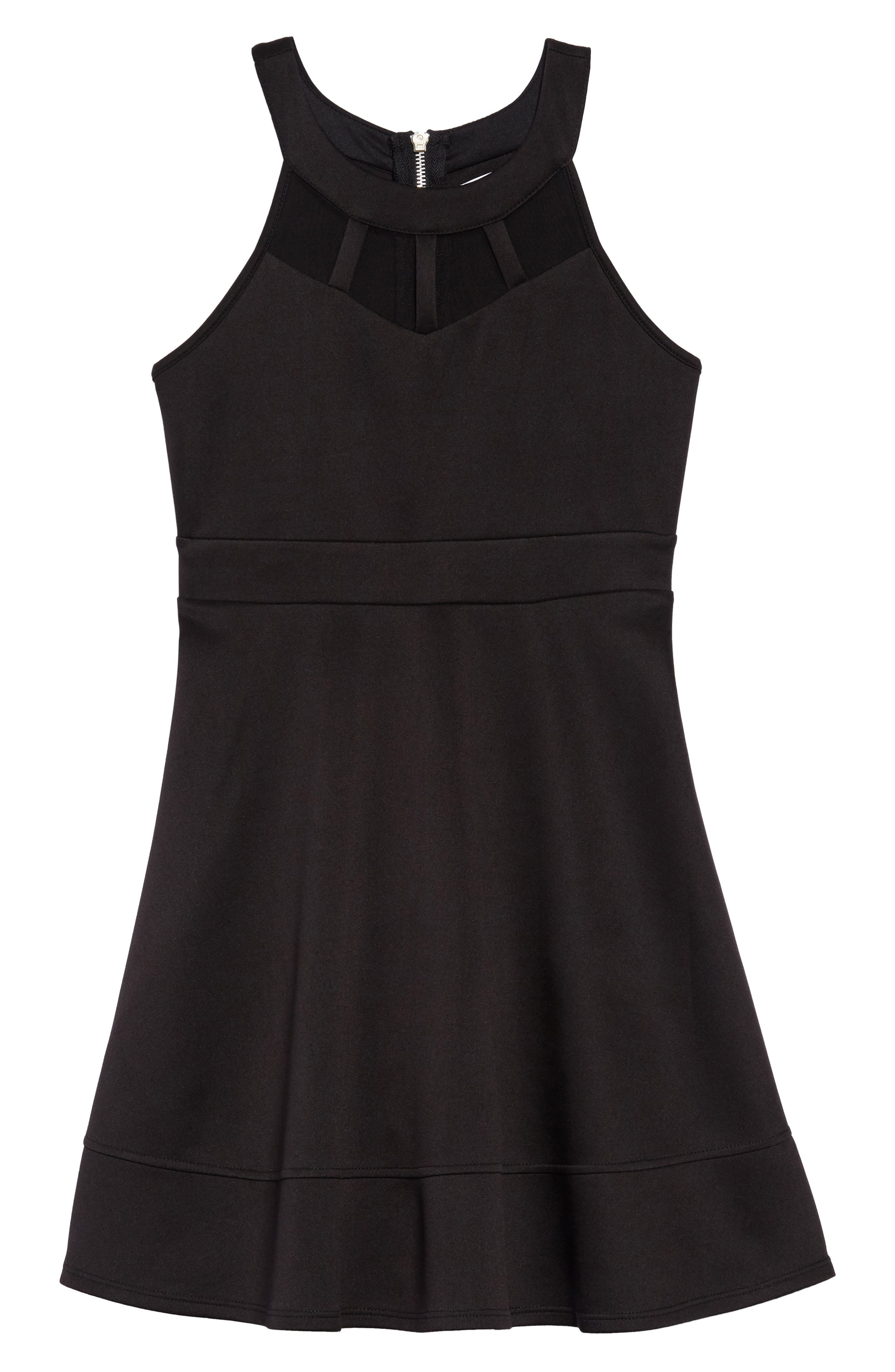 Illusion Neck Skater Dress,                             Main thumbnail 1, color,                             Black