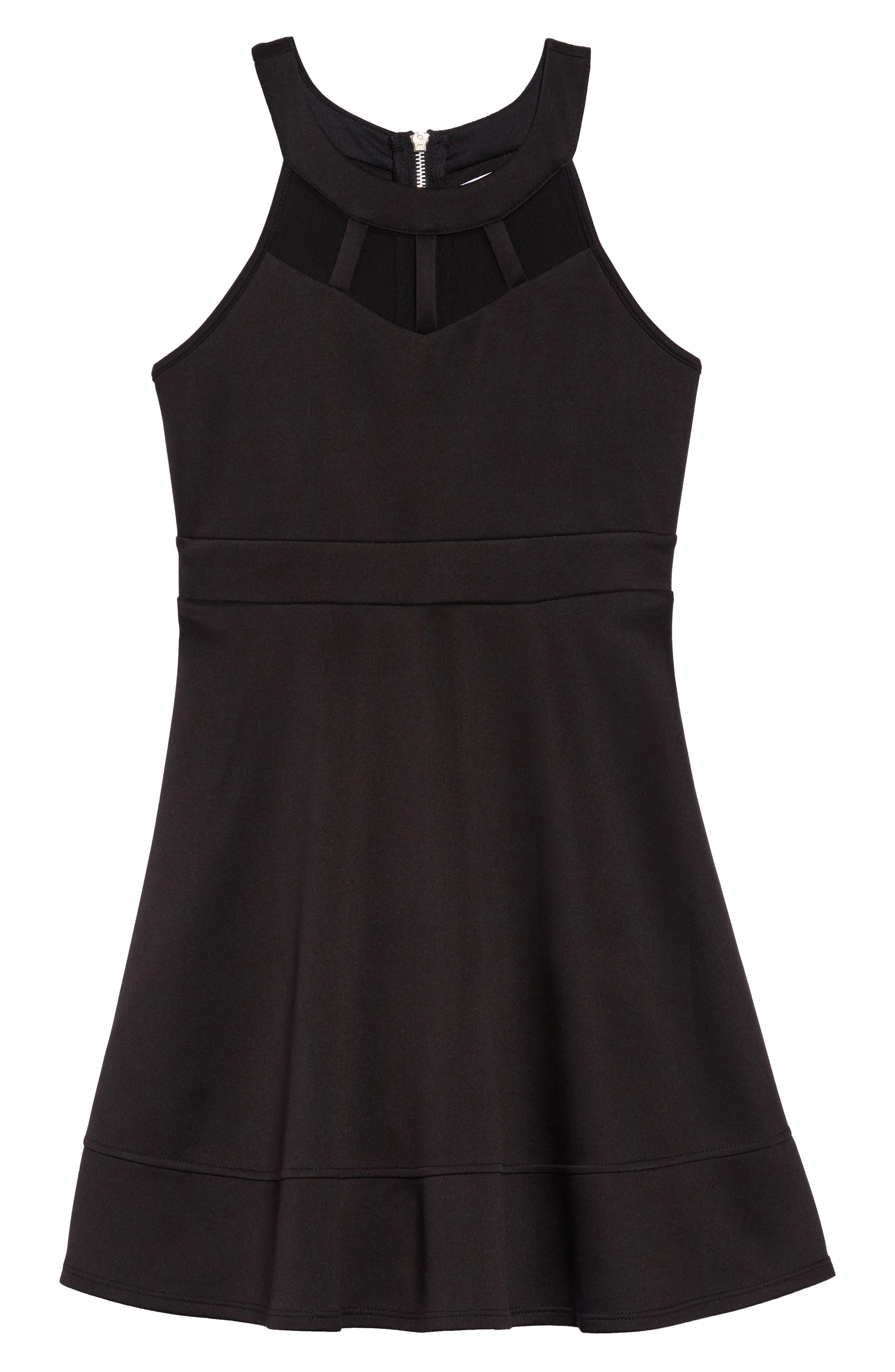 Illusion Neck Skater Dress,                         Main,                         color, Black