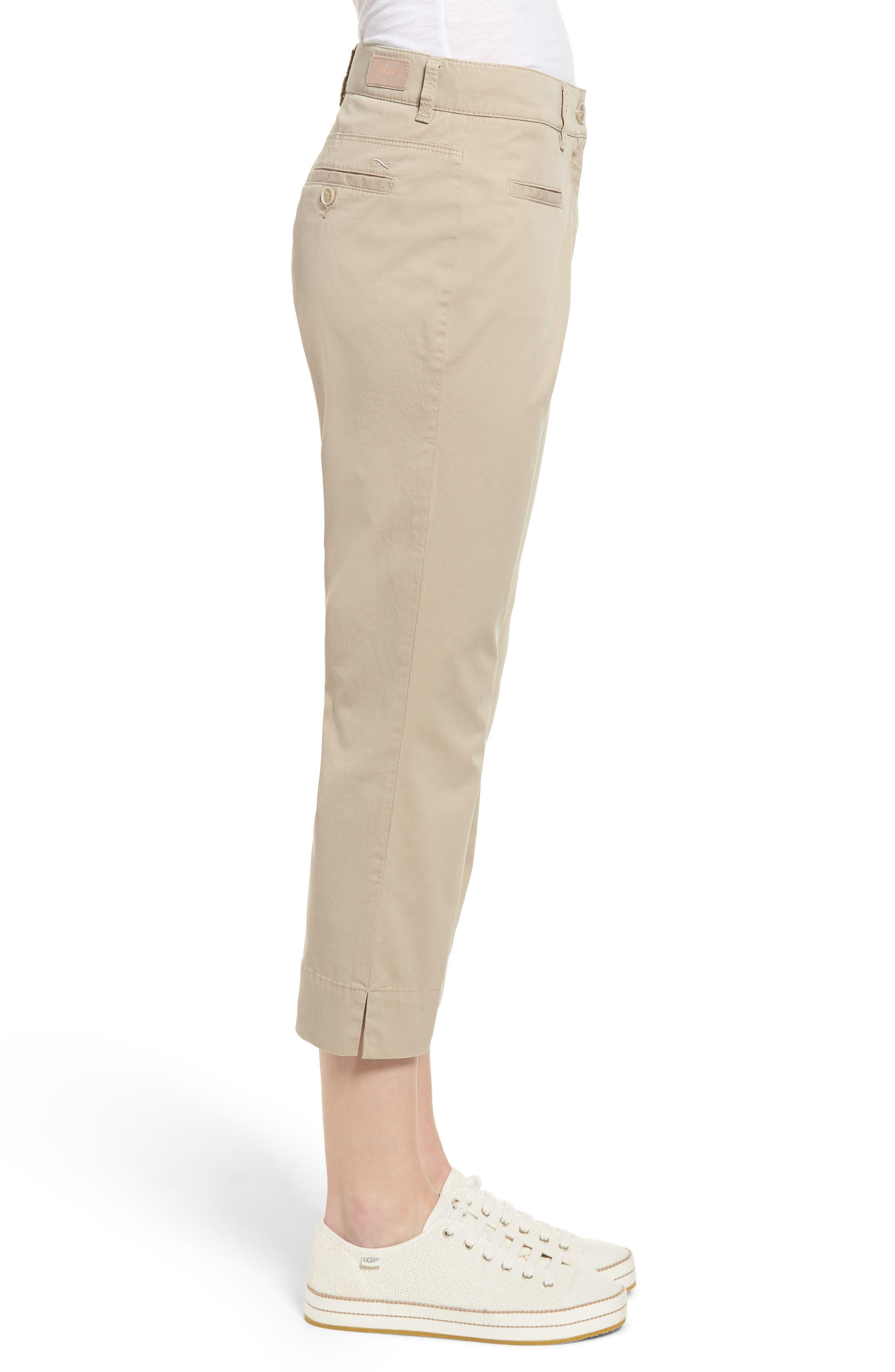 Sunny Stretch Cotton Slit Hem Pants,                             Alternate thumbnail 3, color,                             Almond