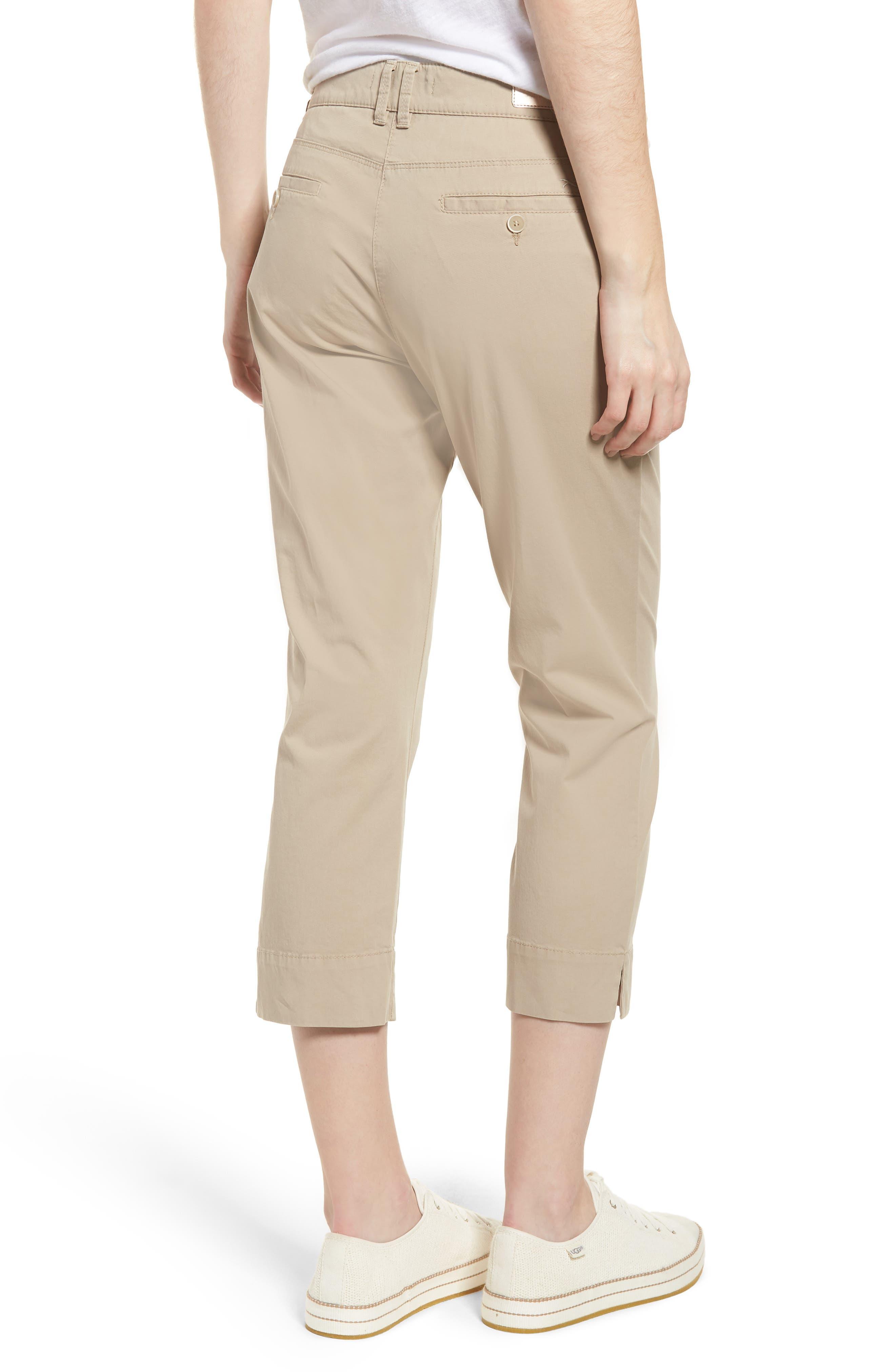 Sunny Stretch Cotton Slit Hem Pants,                             Alternate thumbnail 2, color,                             Almond