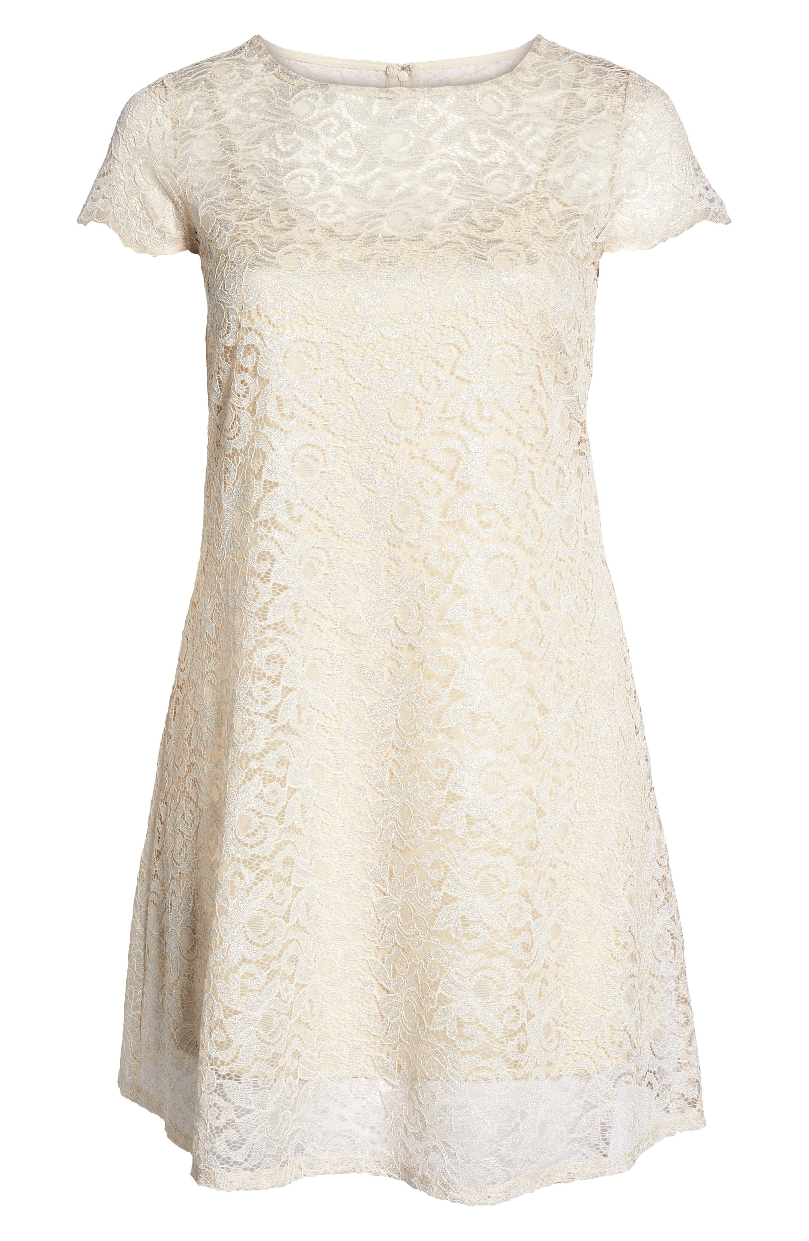 Lace A-Line Dress,                             Alternate thumbnail 6, color,                             Taupe