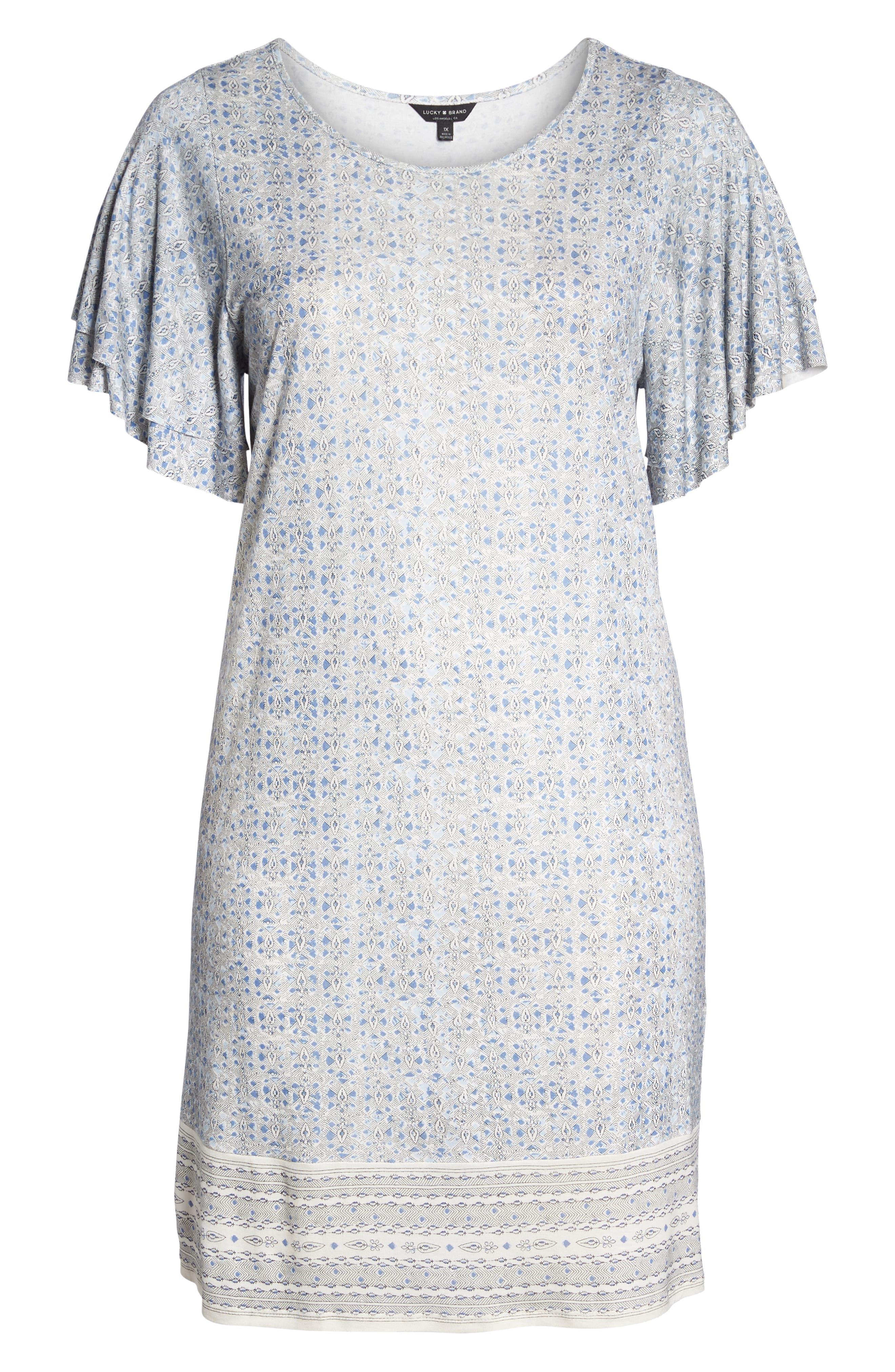 Ruffle Sleeve Print Shift Dress,                             Alternate thumbnail 6, color,                             Blue Multi