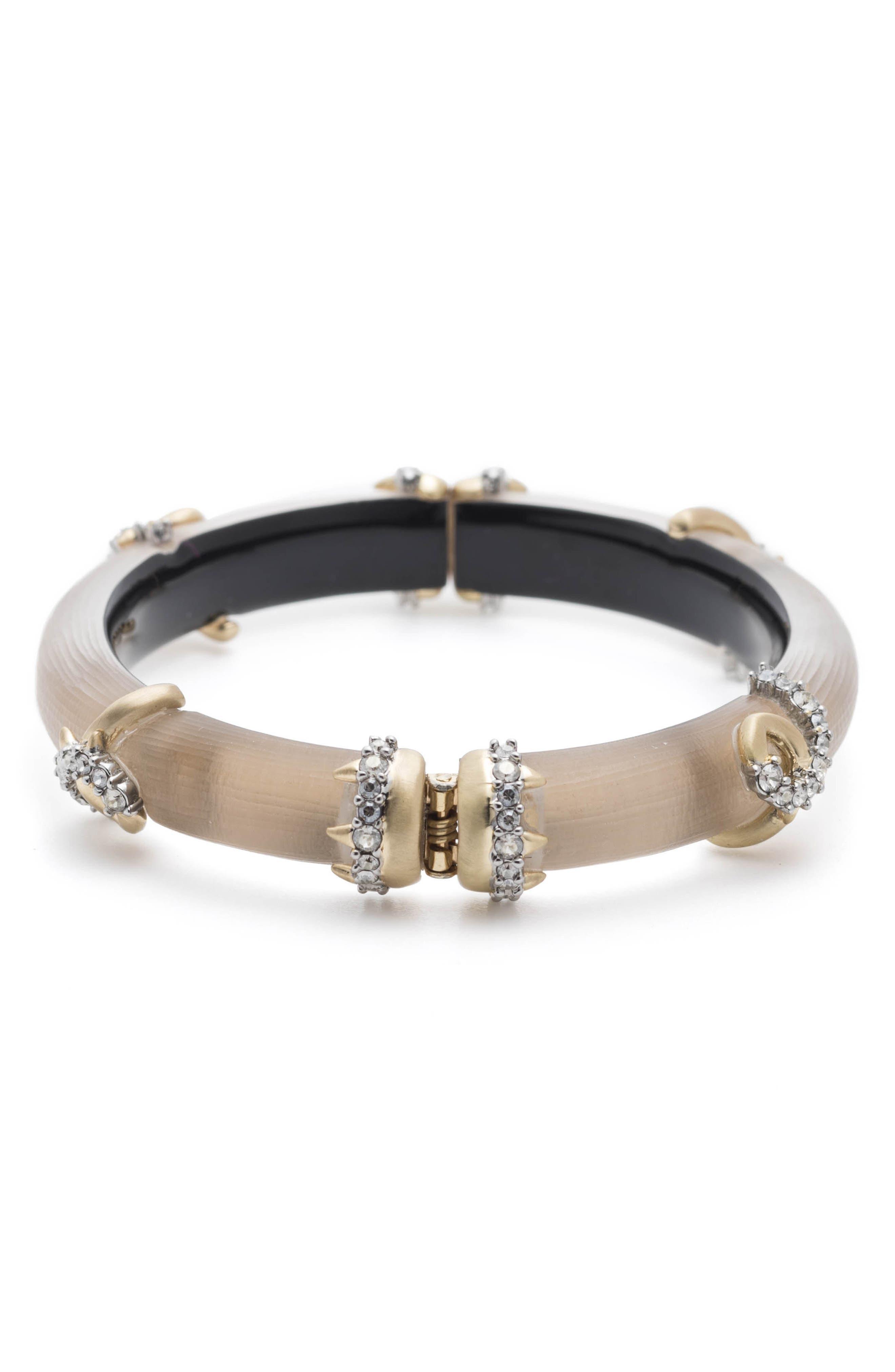 Crystal Encrusted Open Knot Bracelet,                             Alternate thumbnail 2, color,                             Sun Gold