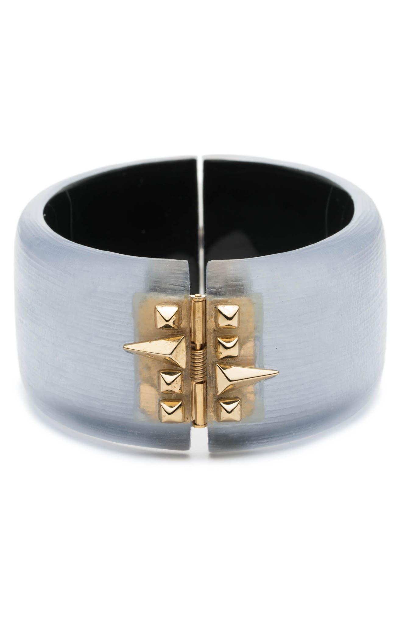 Golden Studded Hinge Bracelet,                             Alternate thumbnail 2, color,                             Steel Blue