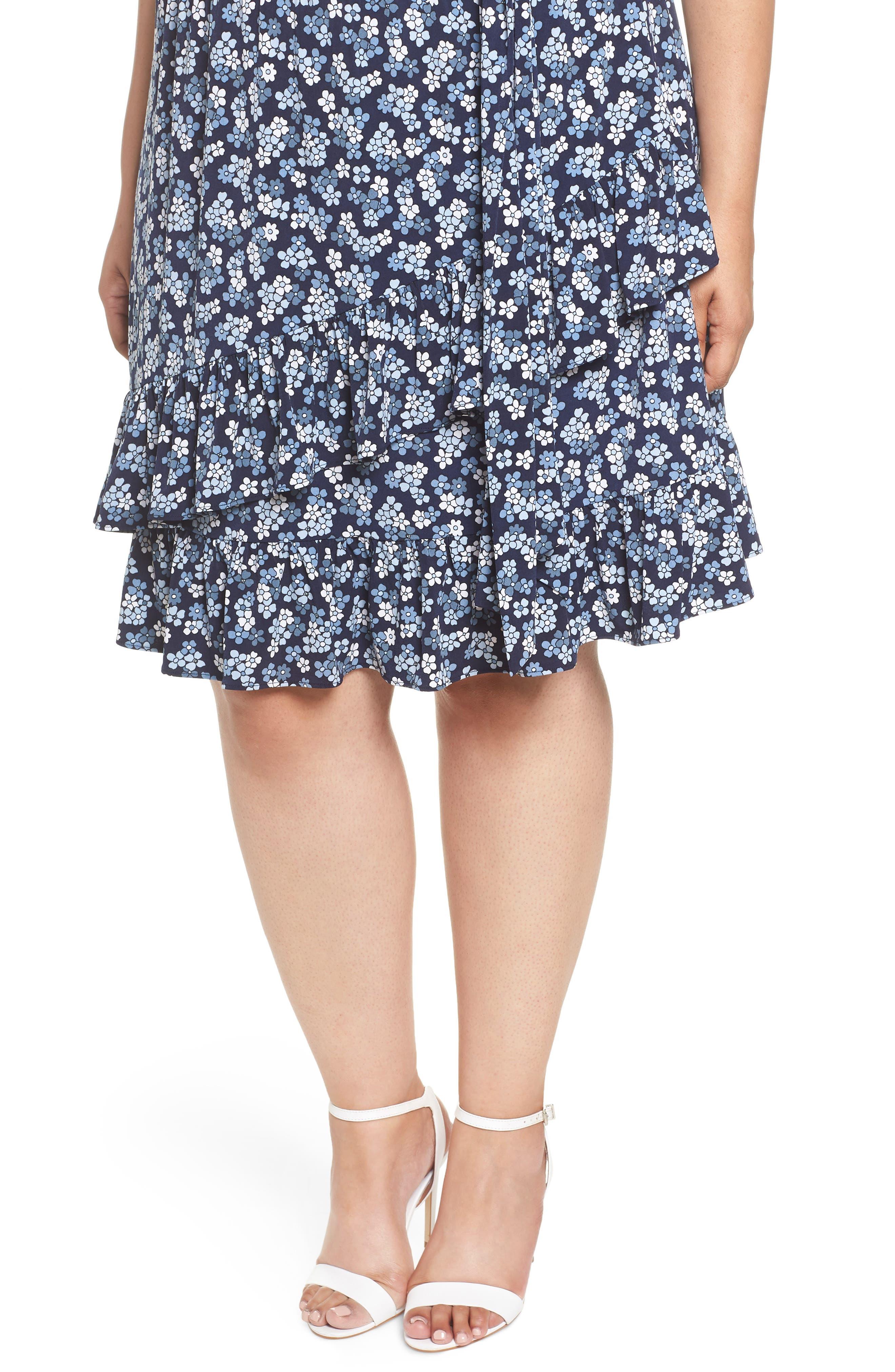 Cherry Blossom Ruffle Faux Wrap Dress,                             Alternate thumbnail 4, color,                             True Navy/ Light Chambray