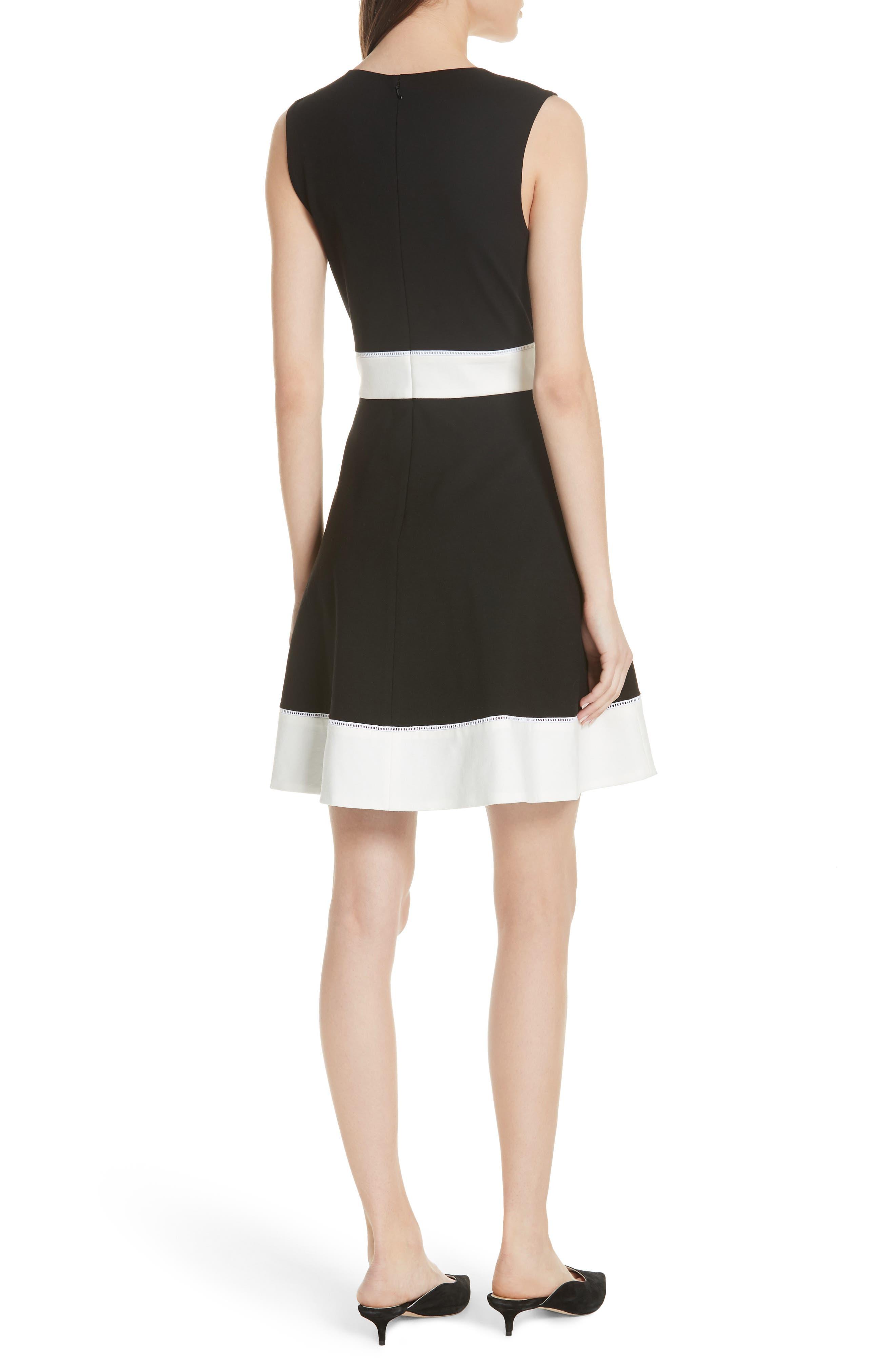 colorblock ponte a-line dress,                             Alternate thumbnail 2, color,                             Black
