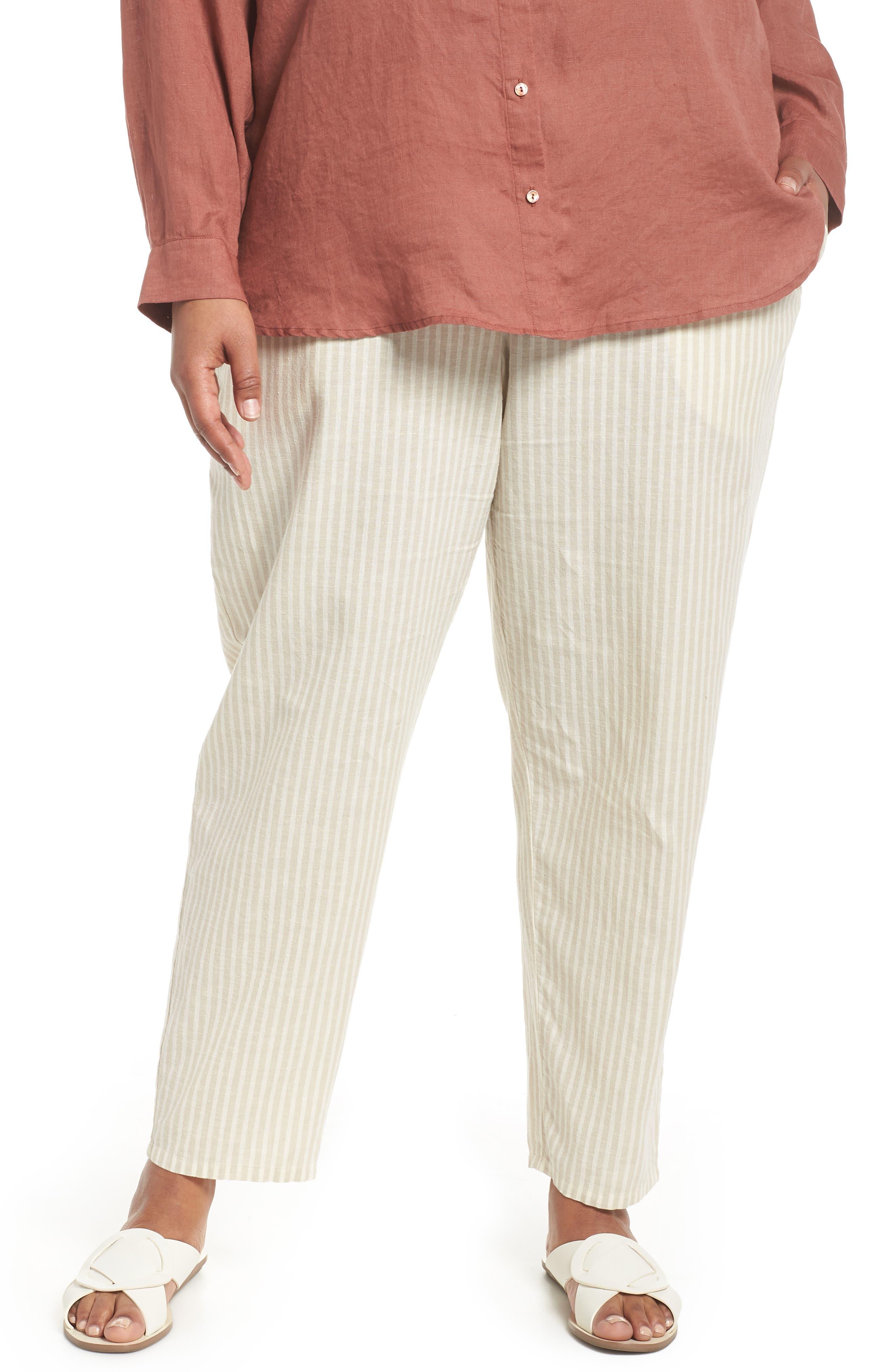 Stripe Ankle Hemp & Cotton Pants,                         Main,                         color, Natural